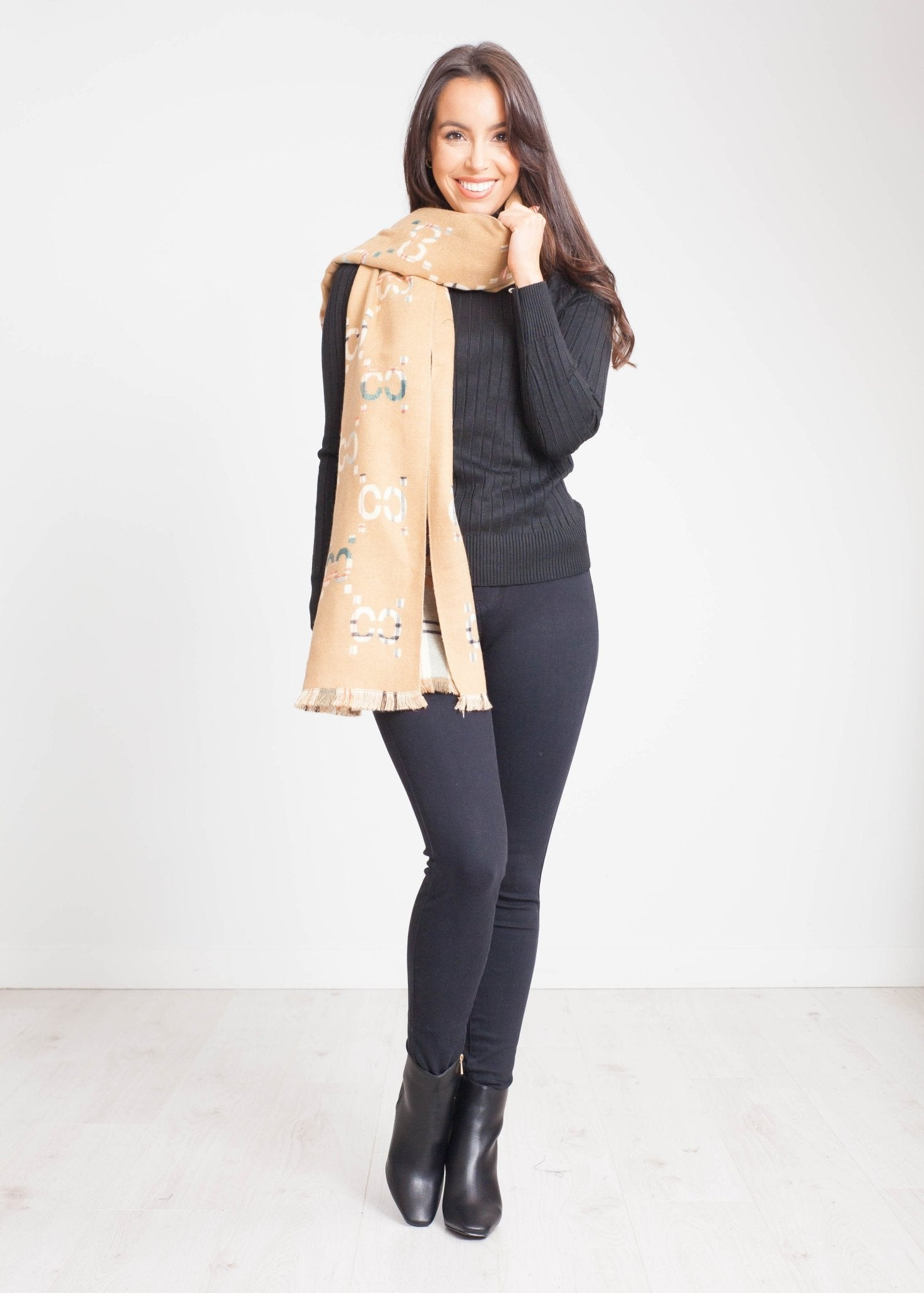 Carly Reversible Scarf In Tan Mix - The Walk in Wardrobe
