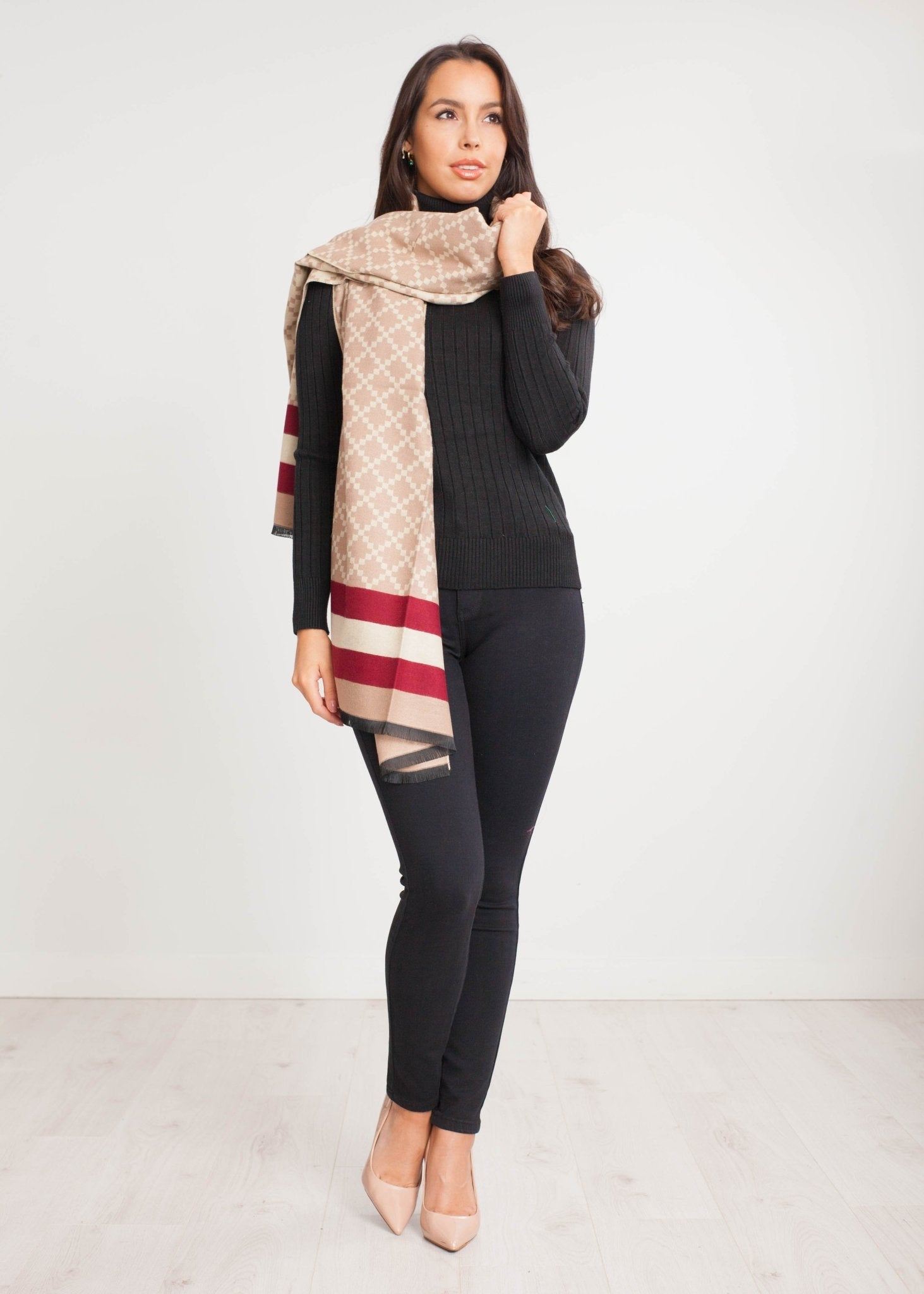 Carly Scarf In Camel And Red - The Walk in Wardrobe