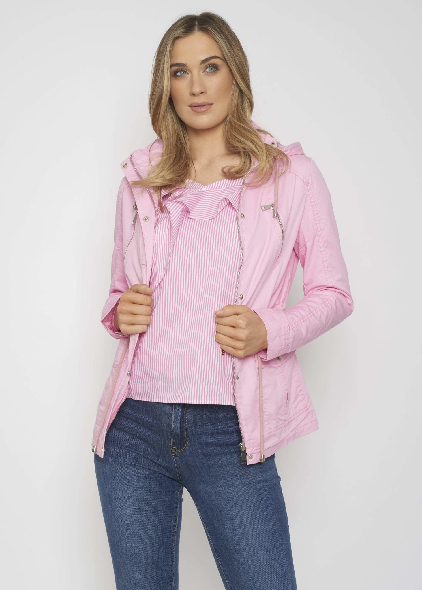 Casey Drawstring Waist Jacket In Pink - The Walk in Wardrobe