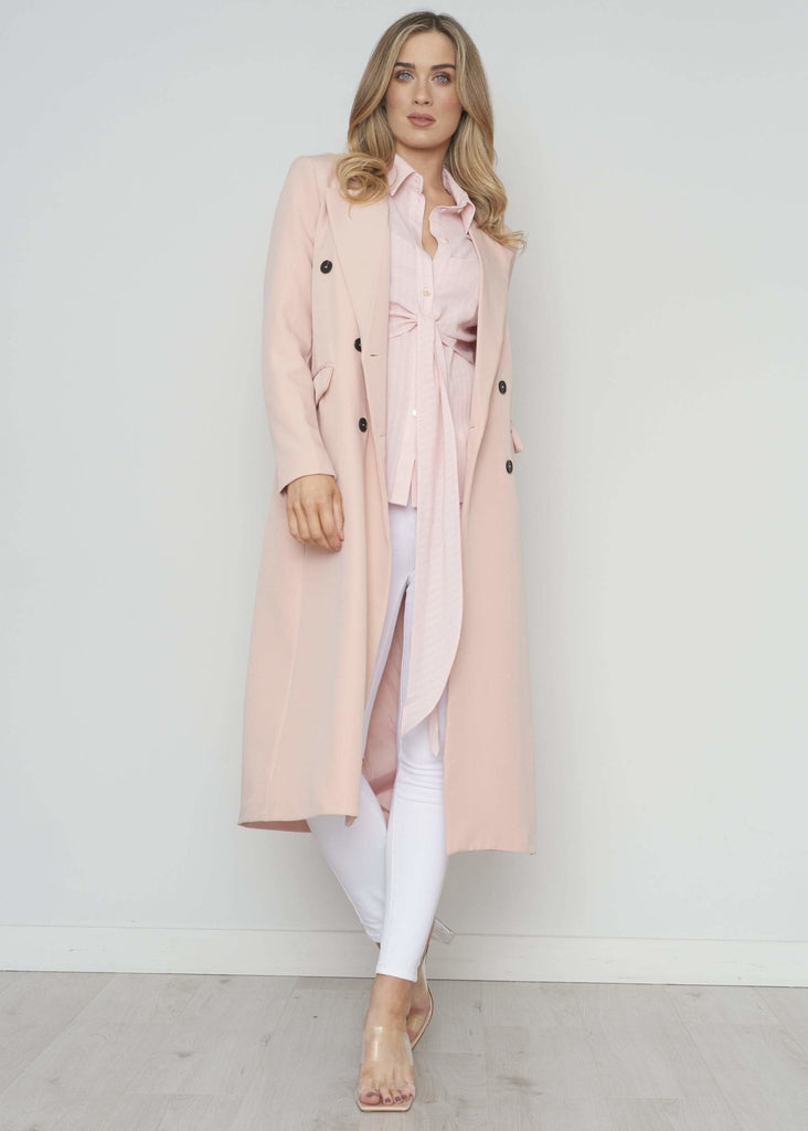 Casey Longline Blazer Jacket In Blush - The Walk in Wardrobe