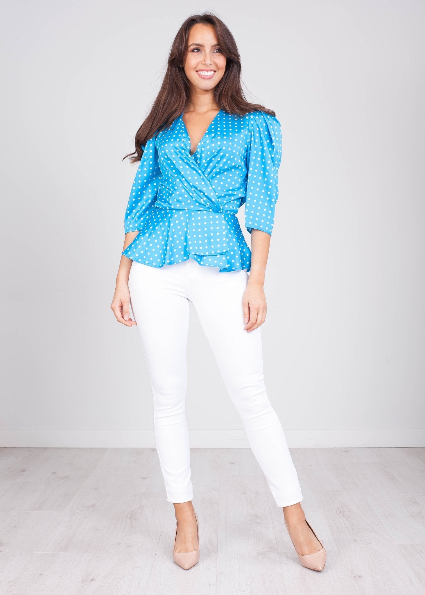 Charlee Blue Polka Dot Wrap Top - The Walk in Wardrobe