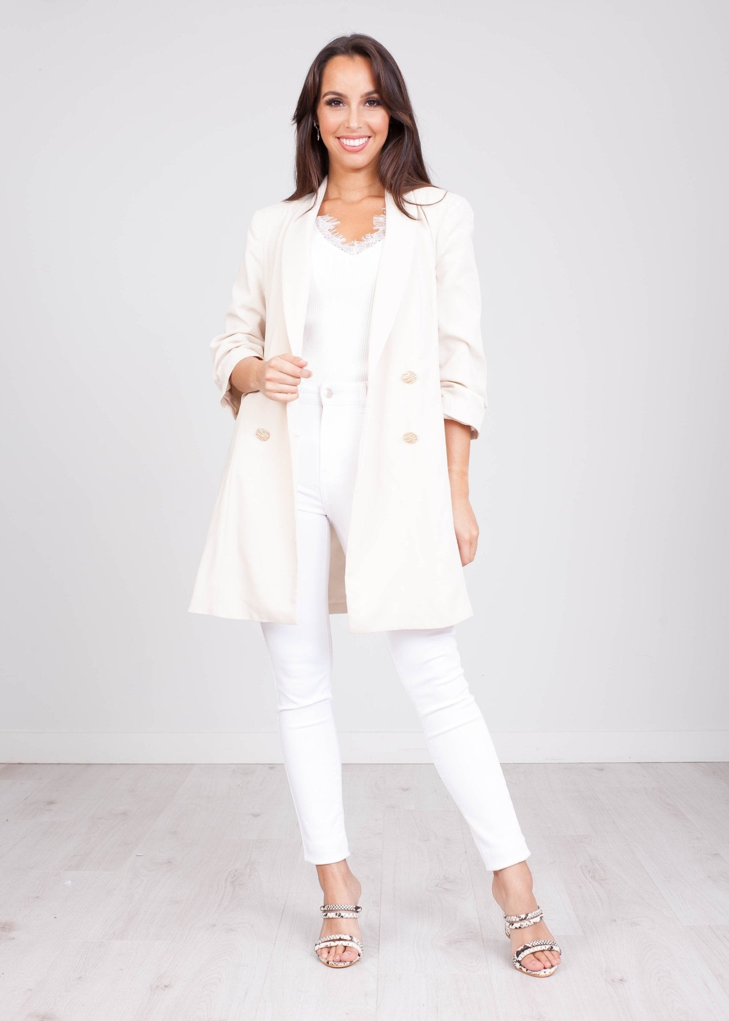 Charlee Cream Blazer - The Walk in Wardrobe