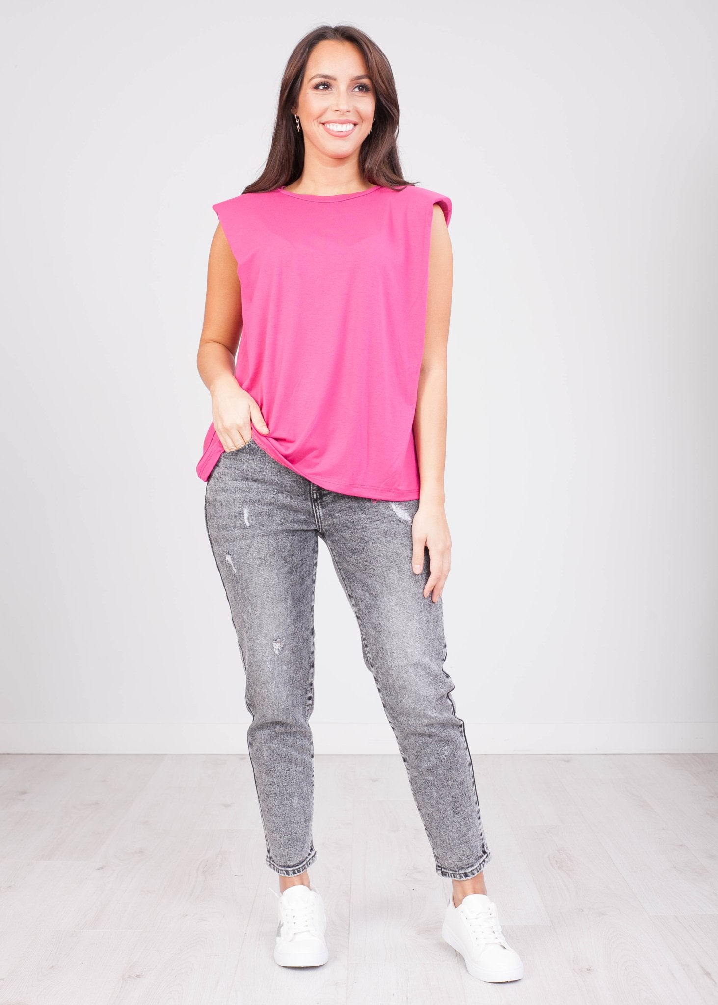 Charlee Pink Padded Top - The Walk in Wardrobe