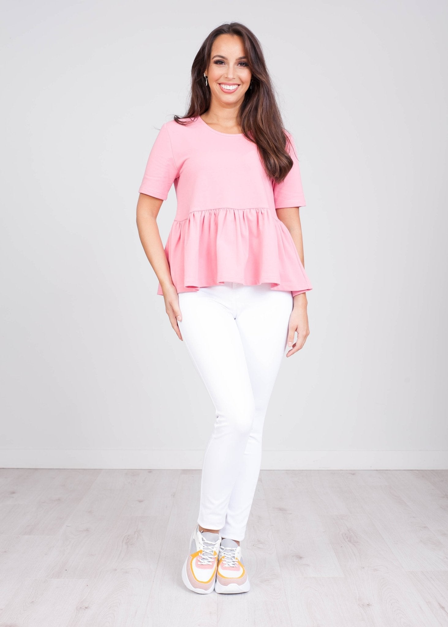 Charlee Pink Peplum Top - The Walk in Wardrobe