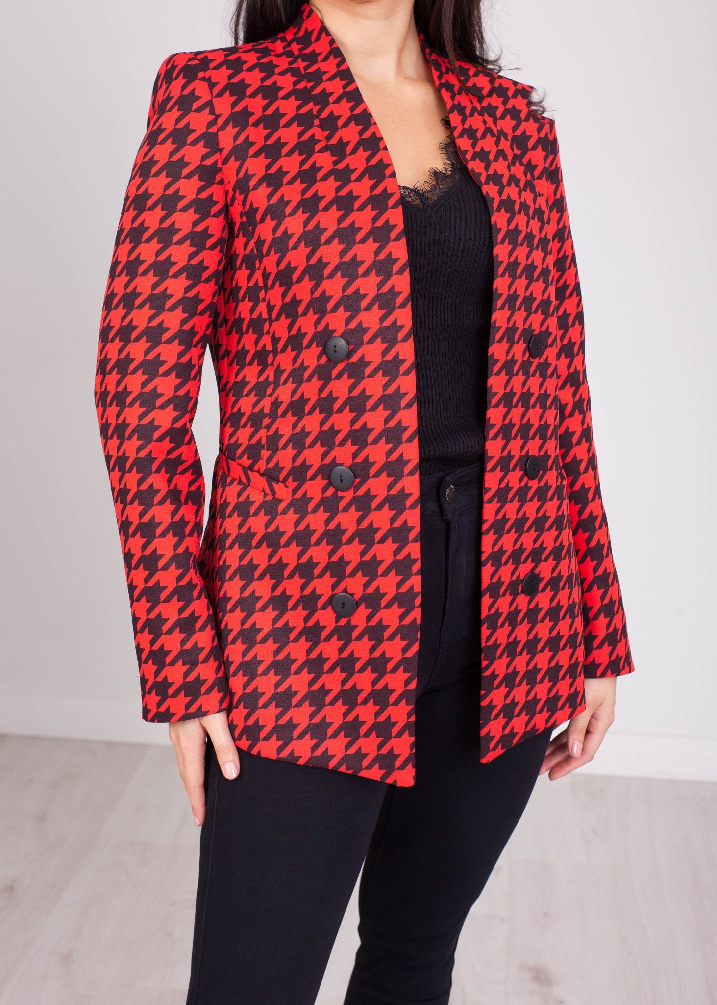 Charlee Red & Black Houndstooth Blazer - The Walk in Wardrobe