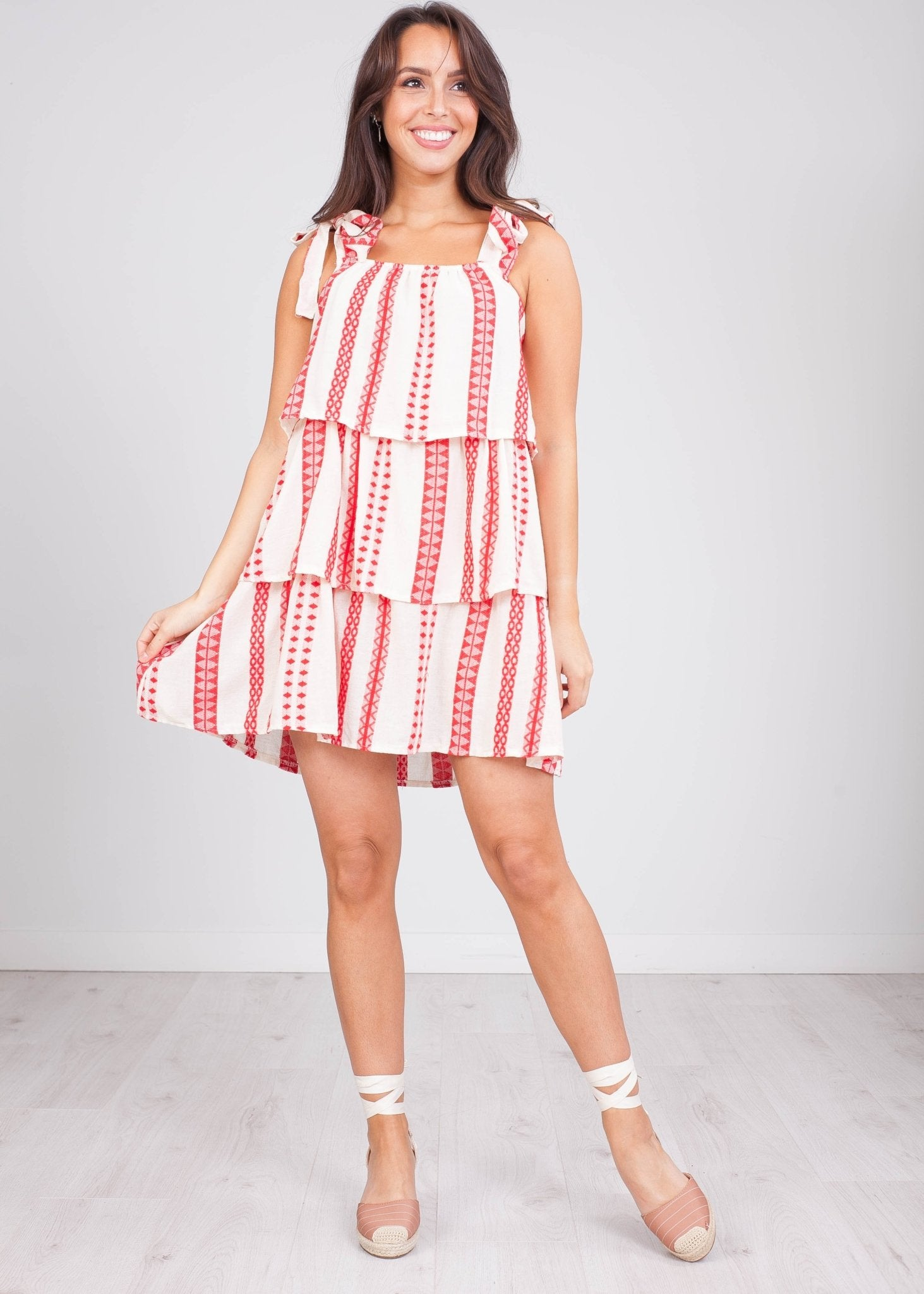 Charlee Red & Cream Ruffle Dress - The Walk in Wardrobe