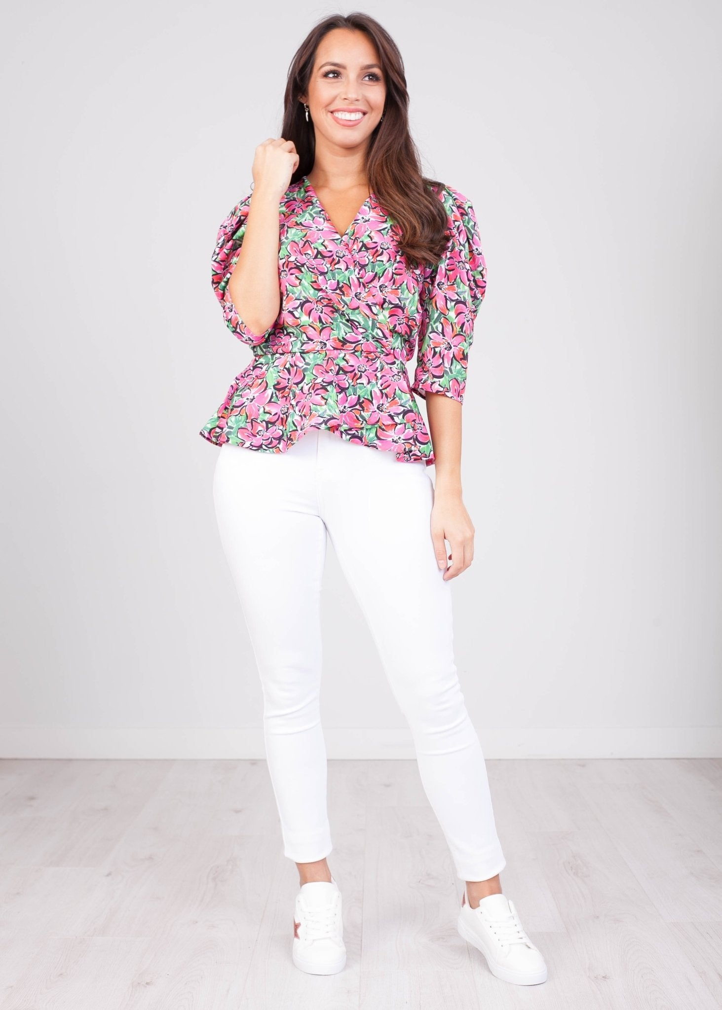 Charlee Red Floral Print Blouse - The Walk in Wardrobe