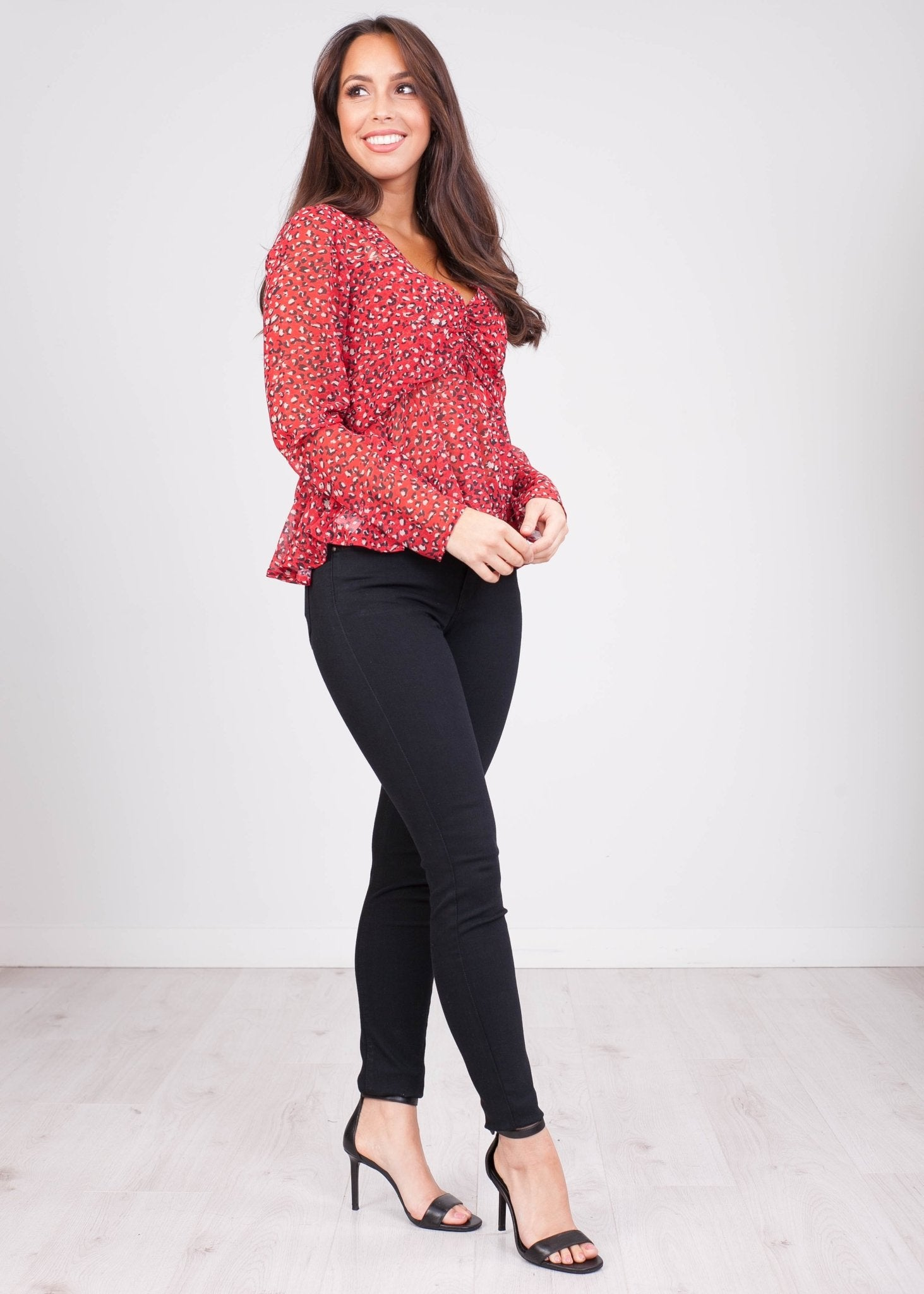 Charlee Red Leopard Print Blouse - The Walk in Wardrobe