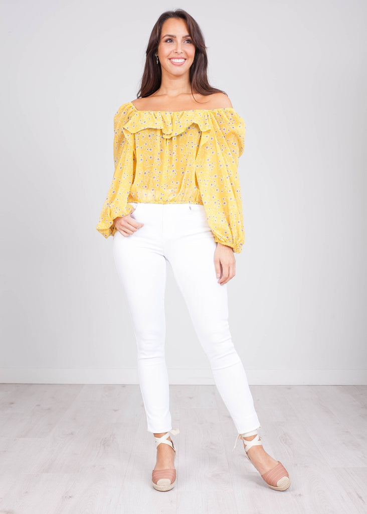 Charlee Yellow Floral Top - The Walk in Wardrobe