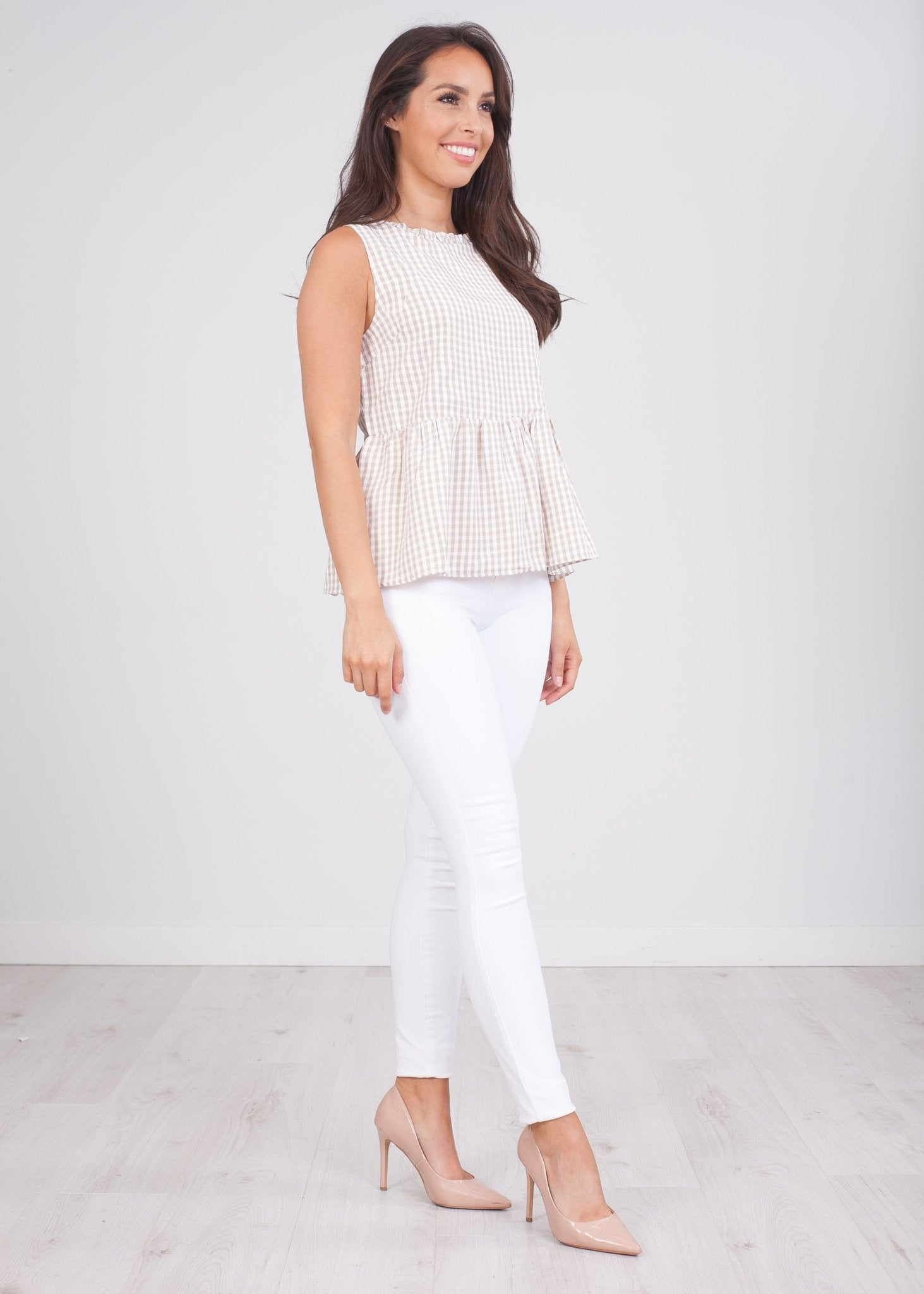 Cherie Beige Gingham Top - The Walk in Wardrobe