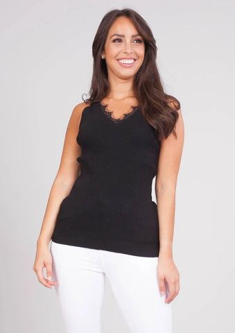 Cherie Black Fine Knit Cami - The Walk in Wardrobe