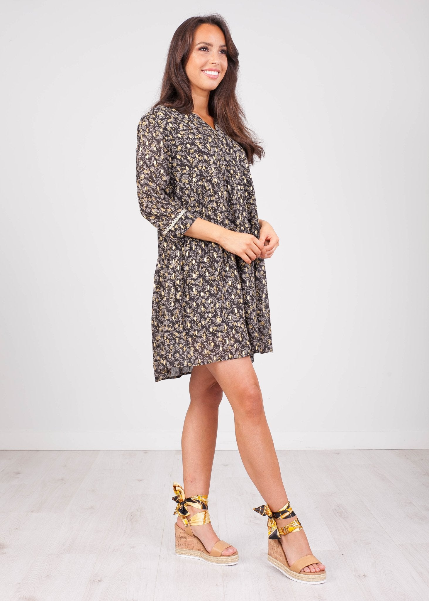 Cherie Black Leaf Printed Dress - The Walk in Wardrobe