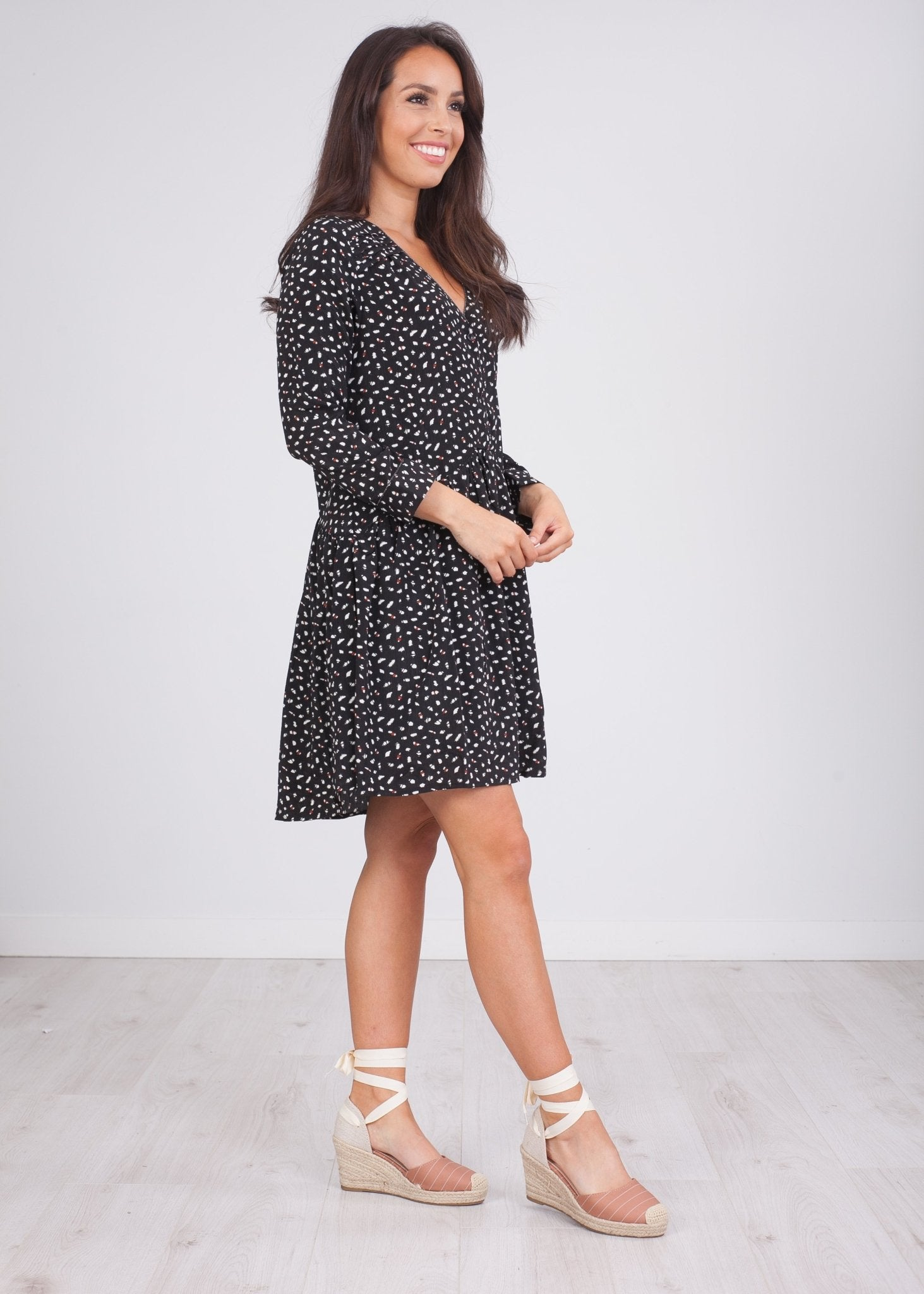 Cherie Black Printed Dress - The Walk in Wardrobe