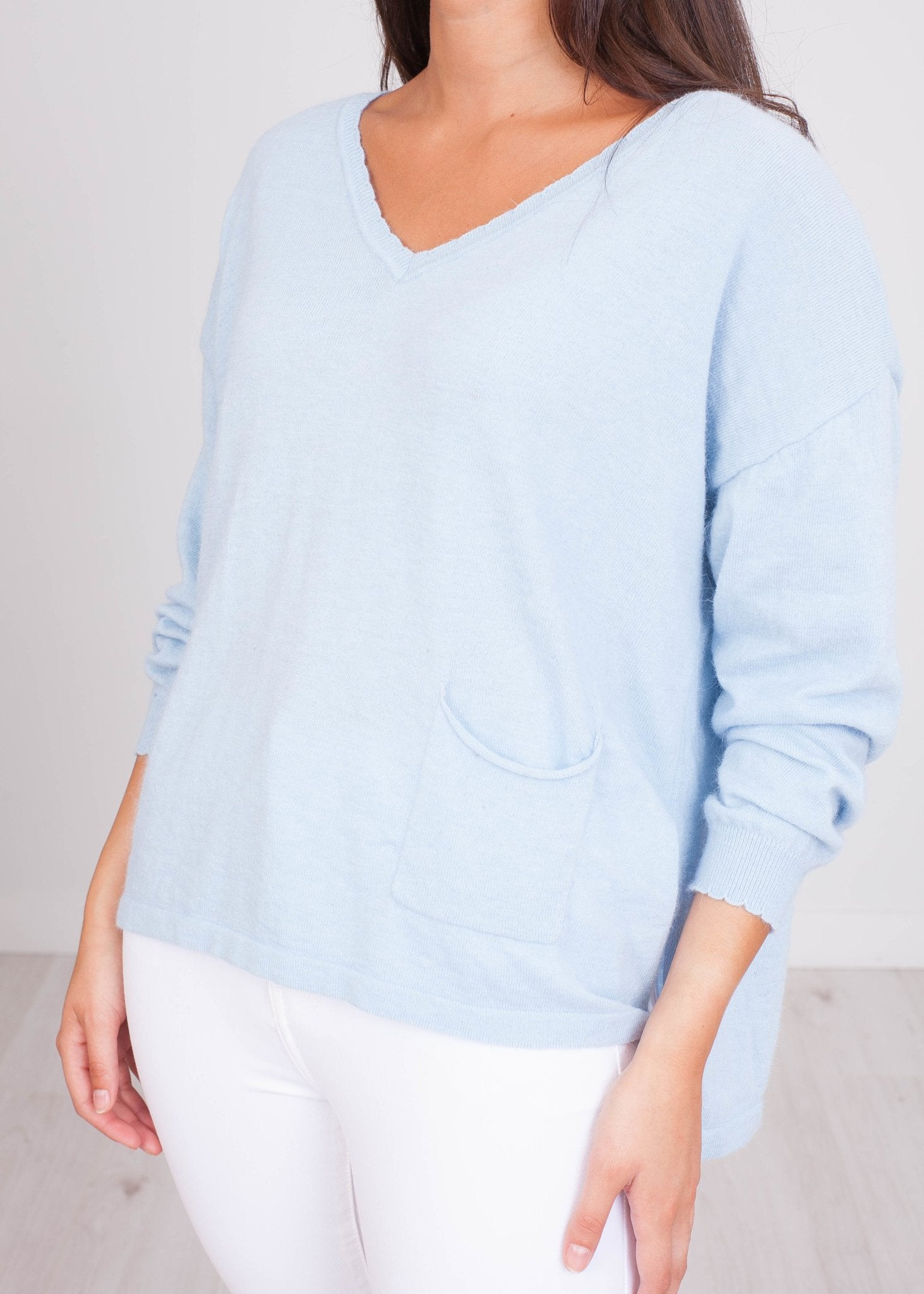 Cherie Blue Knit Top - The Walk in Wardrobe