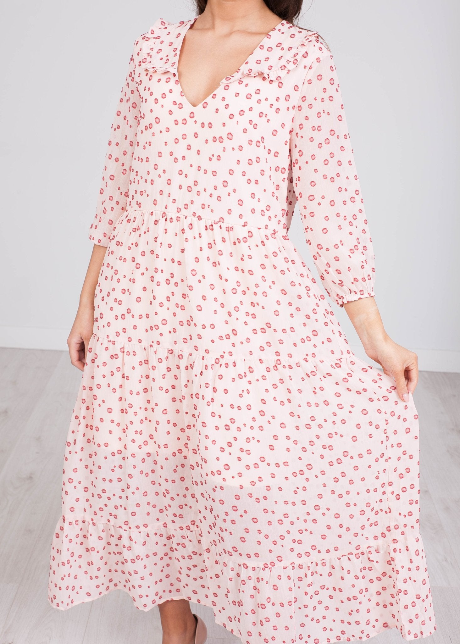 Cherie Blush Polka Dot Midi Dress - The Walk in Wardrobe