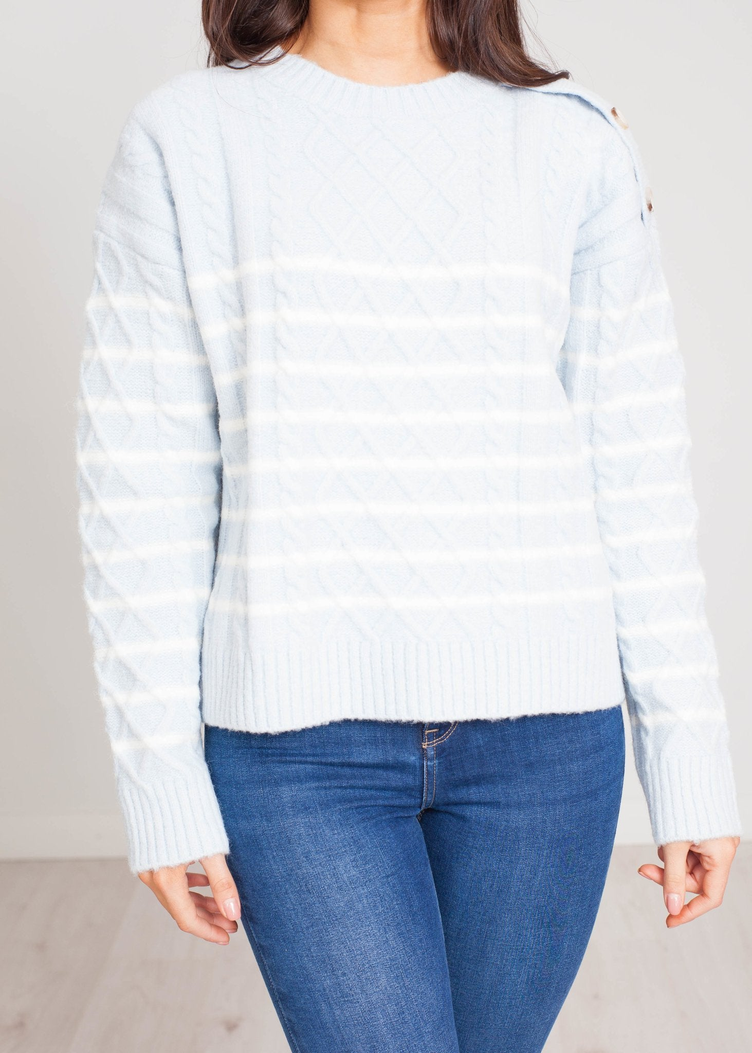 Cherie Cable Knit Jumper In Ice Blue - The Walk in Wardrobe