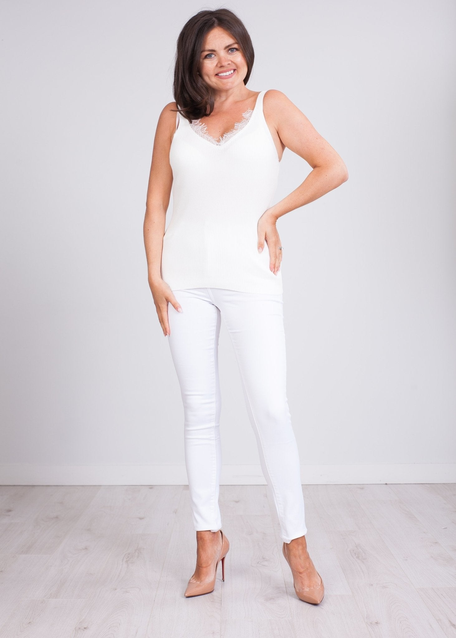 Cherie Cream Fine Knit Cami - The Walk in Wardrobe