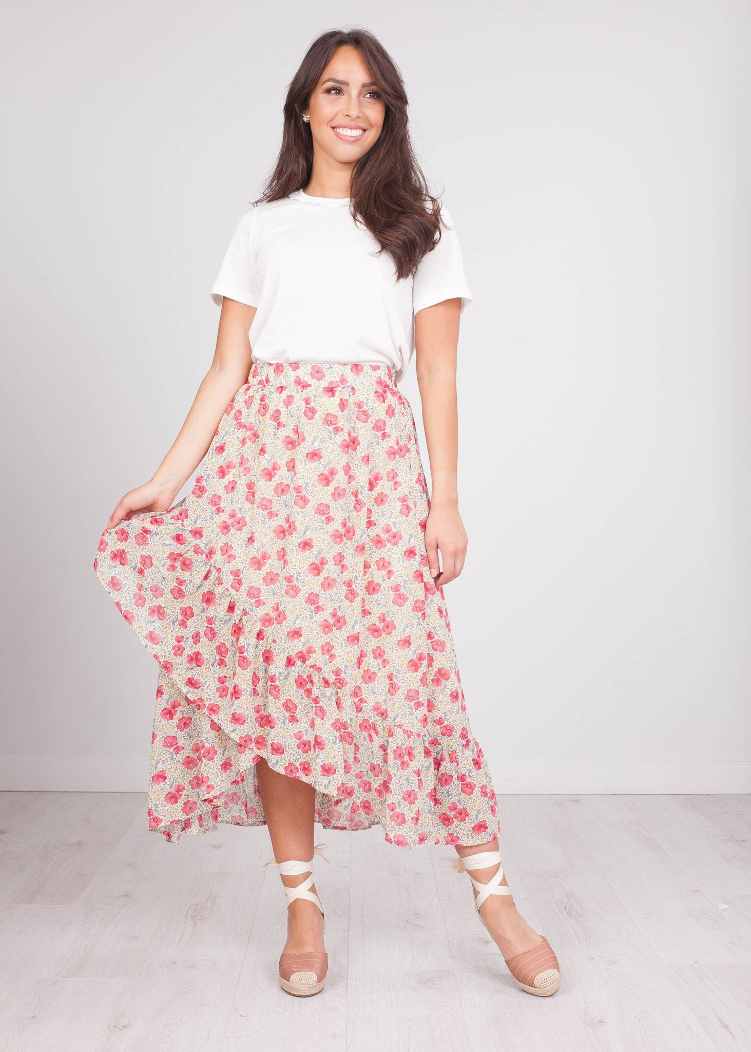 Cherie Cream Floral Midi Skirt - The Walk in Wardrobe