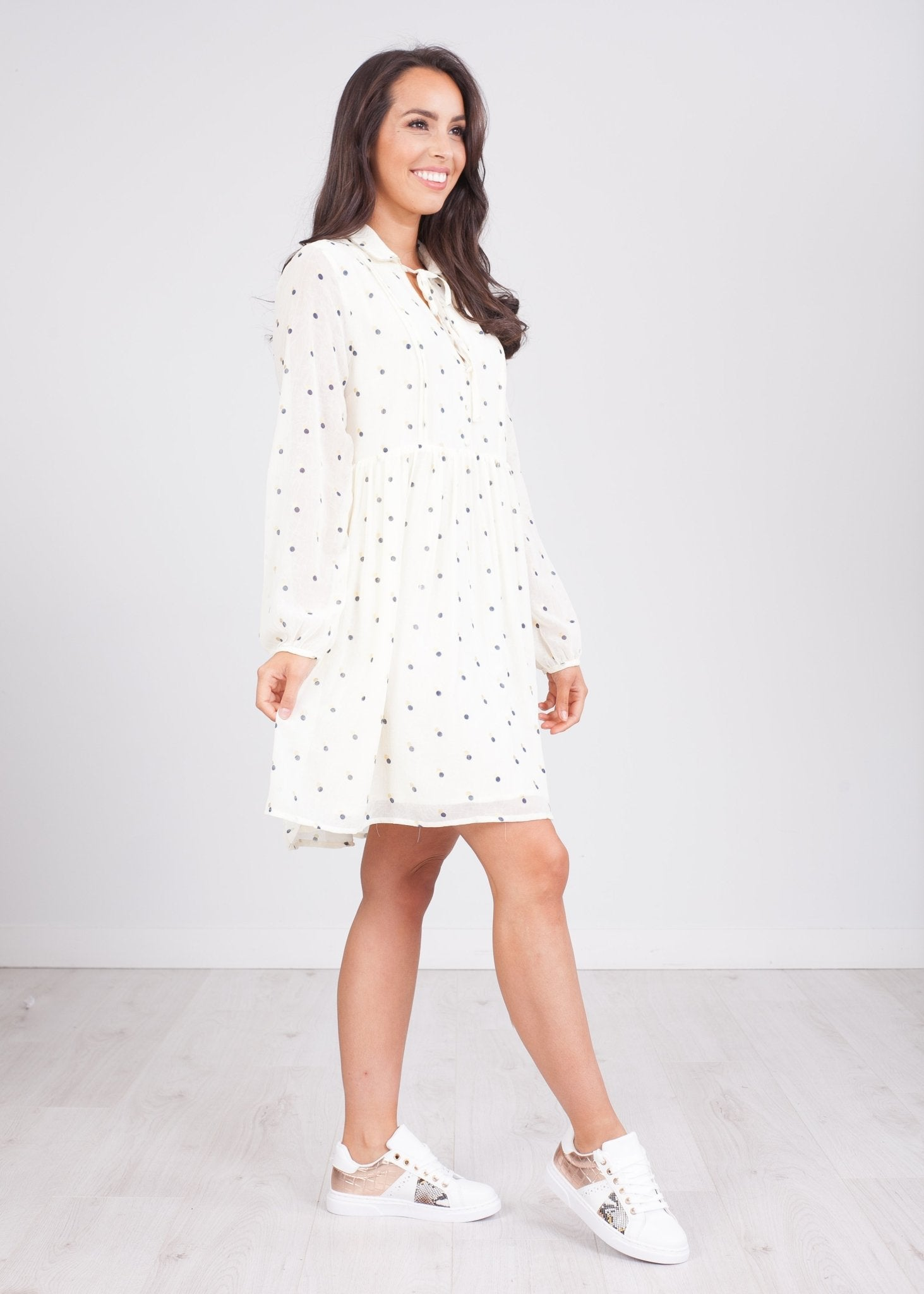 Cherie Cream Polka Dot Dress - The Walk in Wardrobe