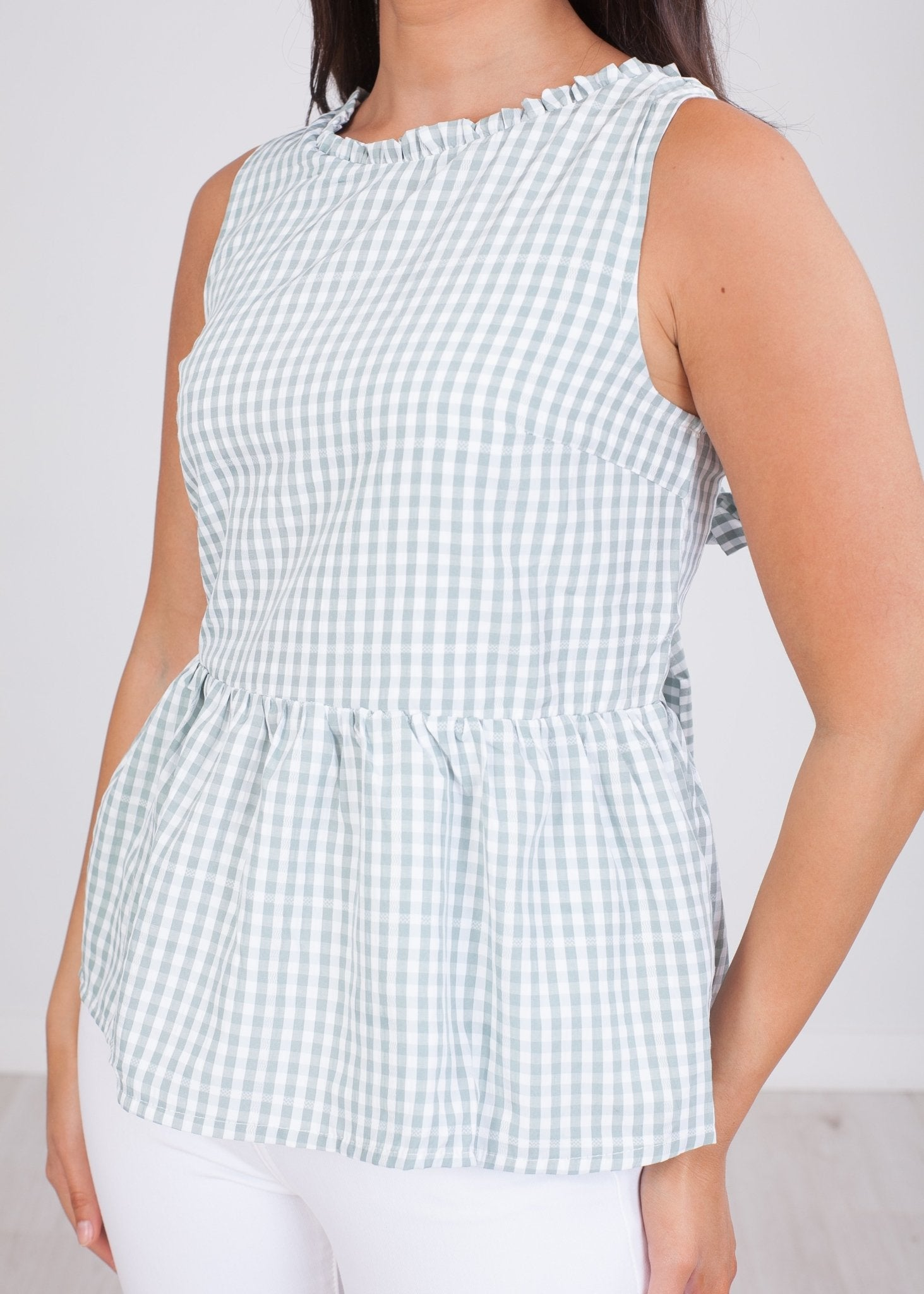 Cherie Green Gingham Top - The Walk in Wardrobe
