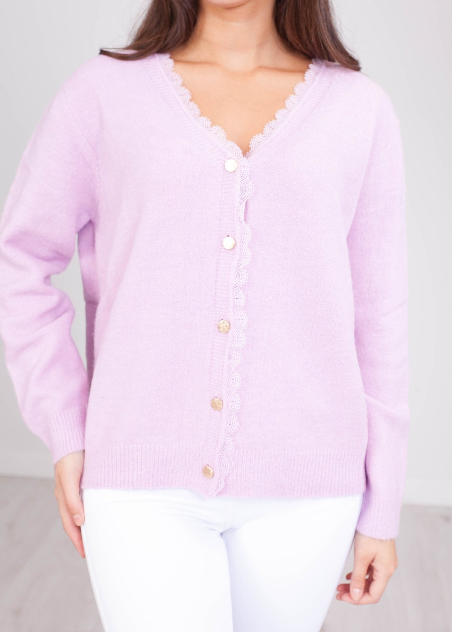 Cherie Lilac Lace Trim Cardigan - The Walk in Wardrobe