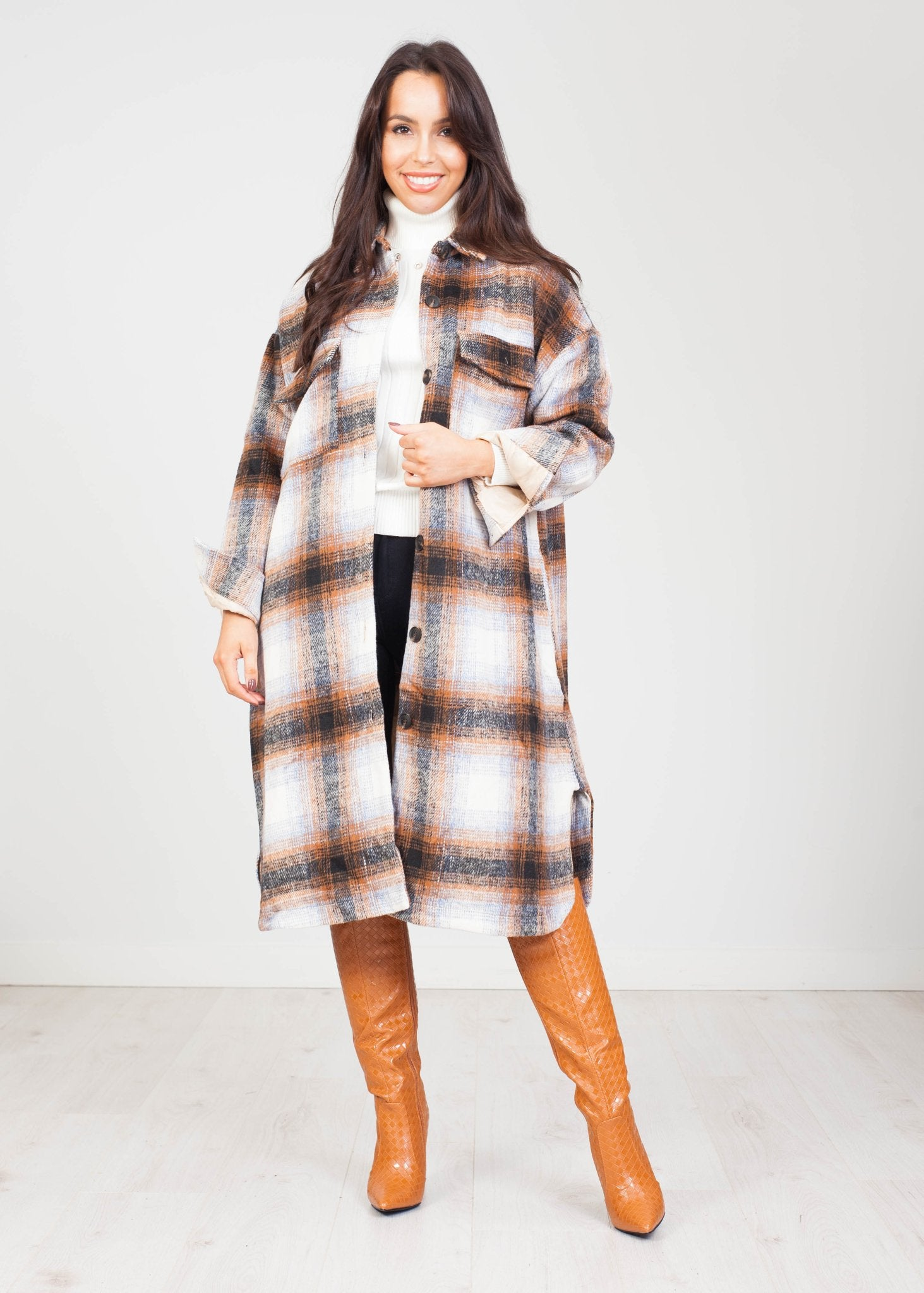 Cherie Longline Shacket in Rust Plaid - The Walk in Wardrobe