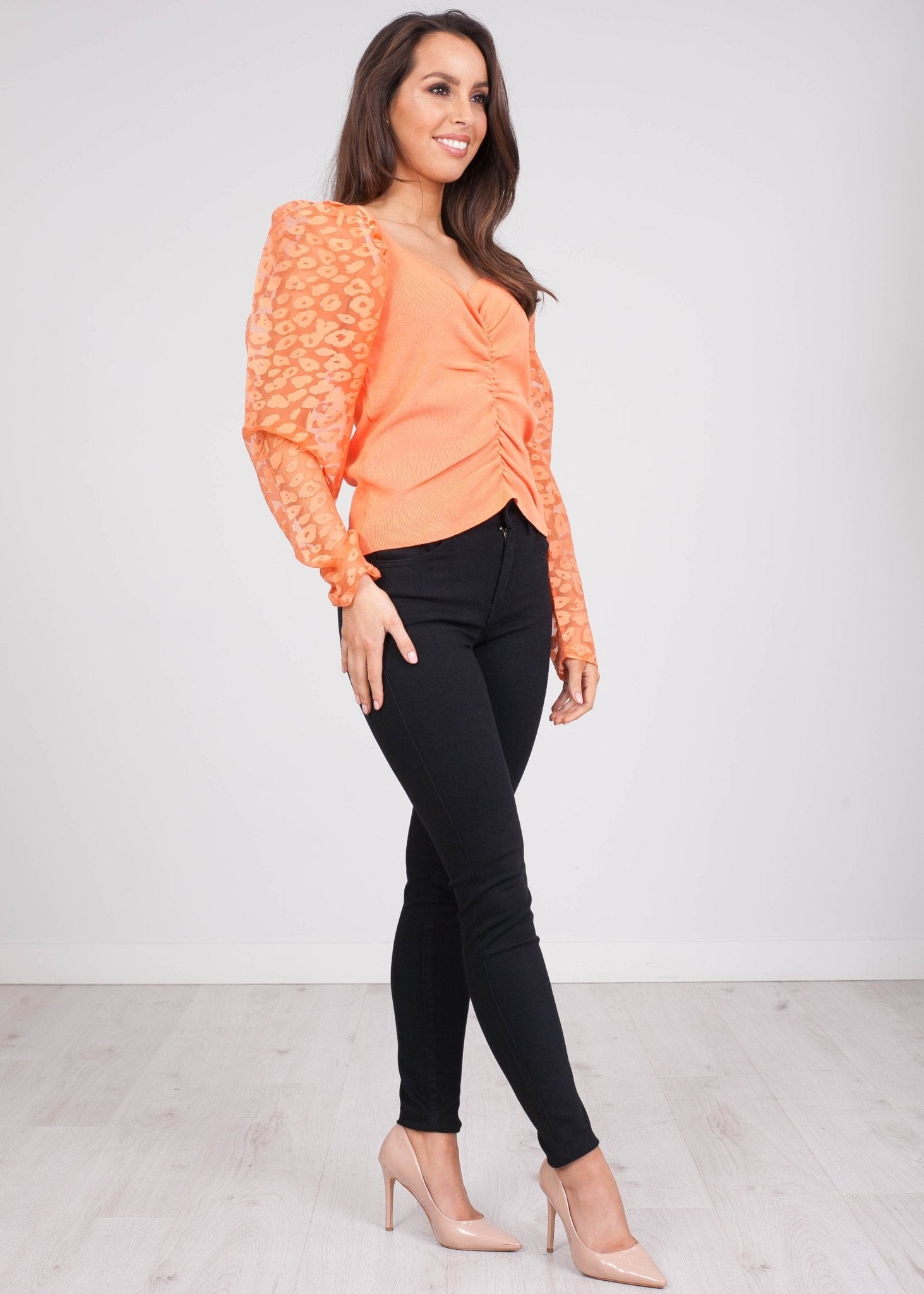 Cherie Orange Puff Sleeve Top - The Walk in Wardrobe