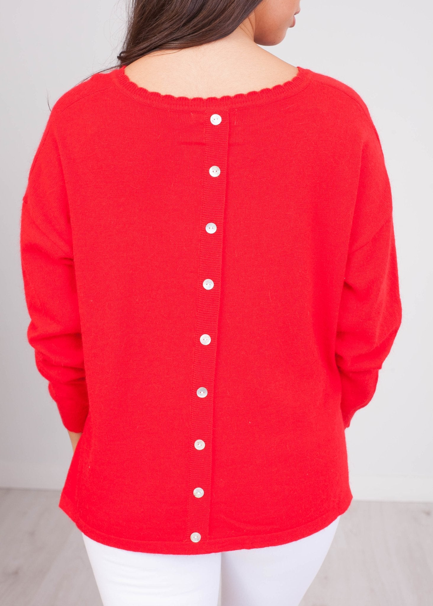 Cherie Red Fine Knit Top - The Walk in Wardrobe