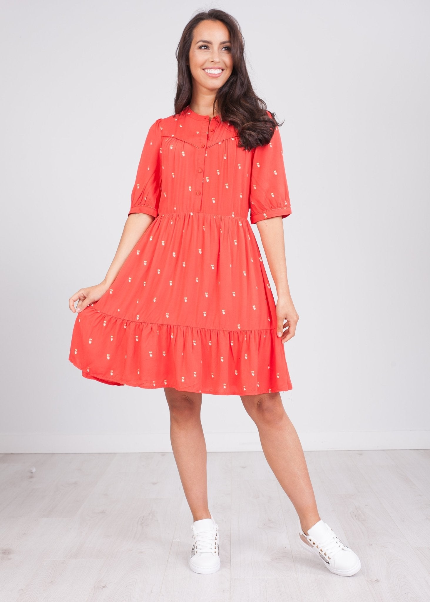 Cherie Red Printed Dress - The Walk in Wardrobe