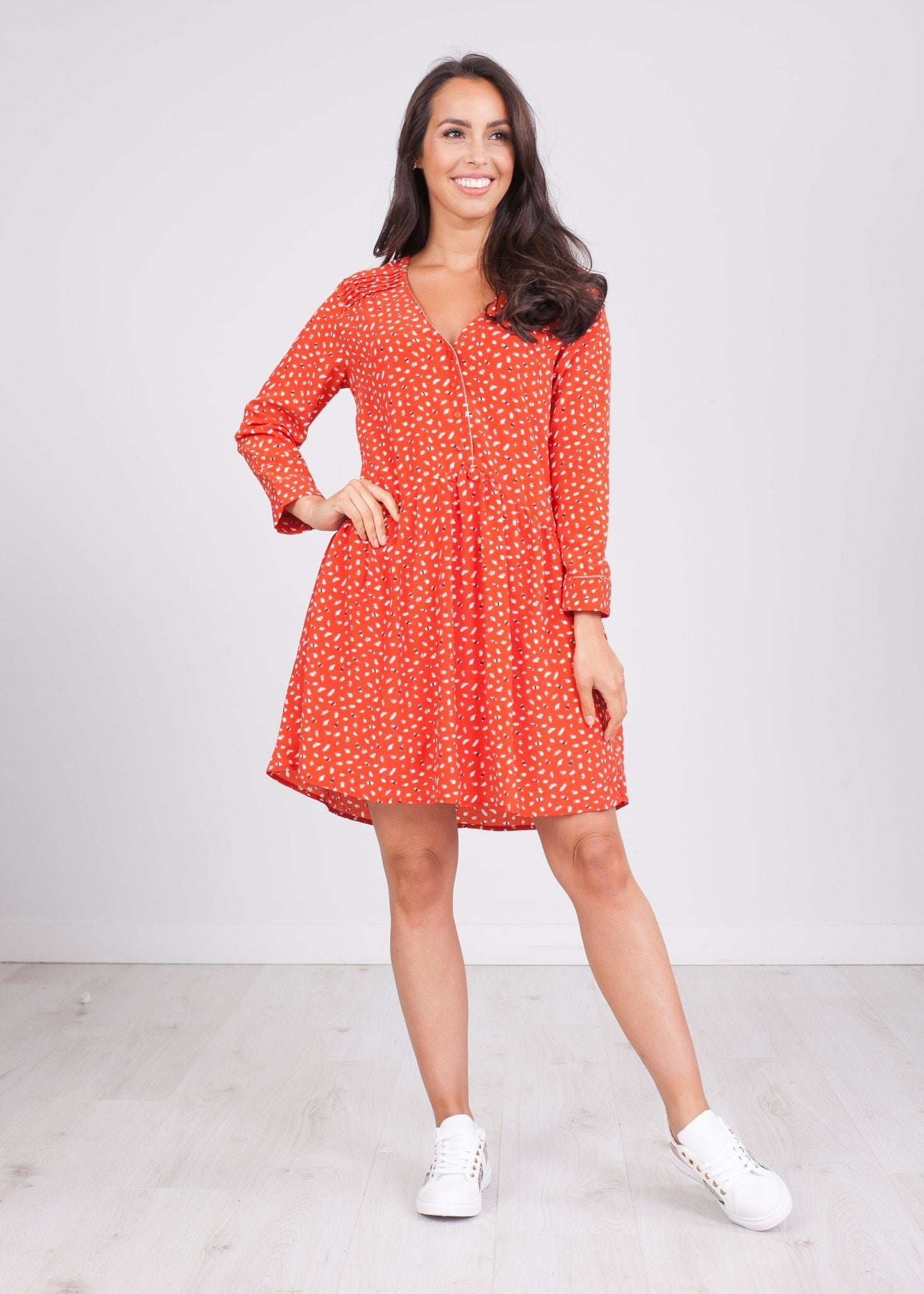 Cherie Red & White Printed Dress - The Walk in Wardrobe