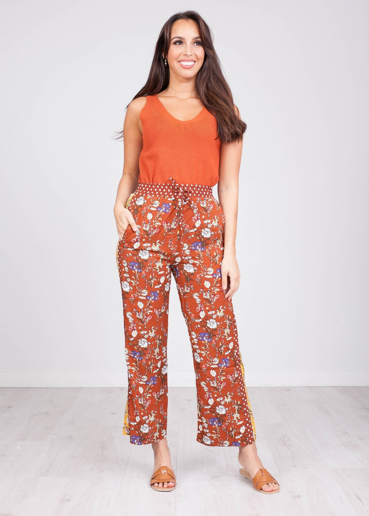 Cherie Rust Printed Trousers - The Walk in Wardrobe