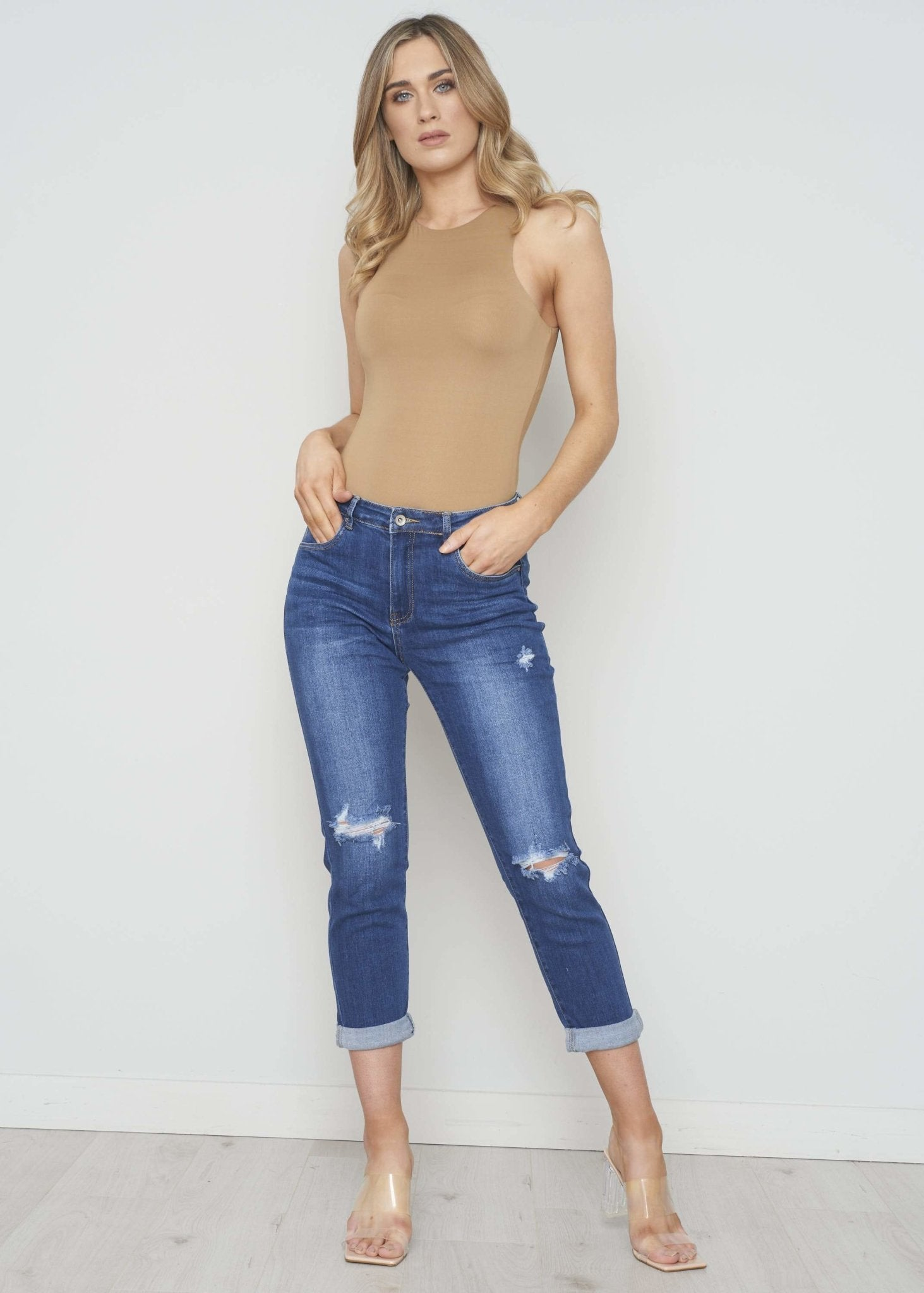 Ciara Distressed Boyfriend Jean In Denim - The Walk in Wardrobe