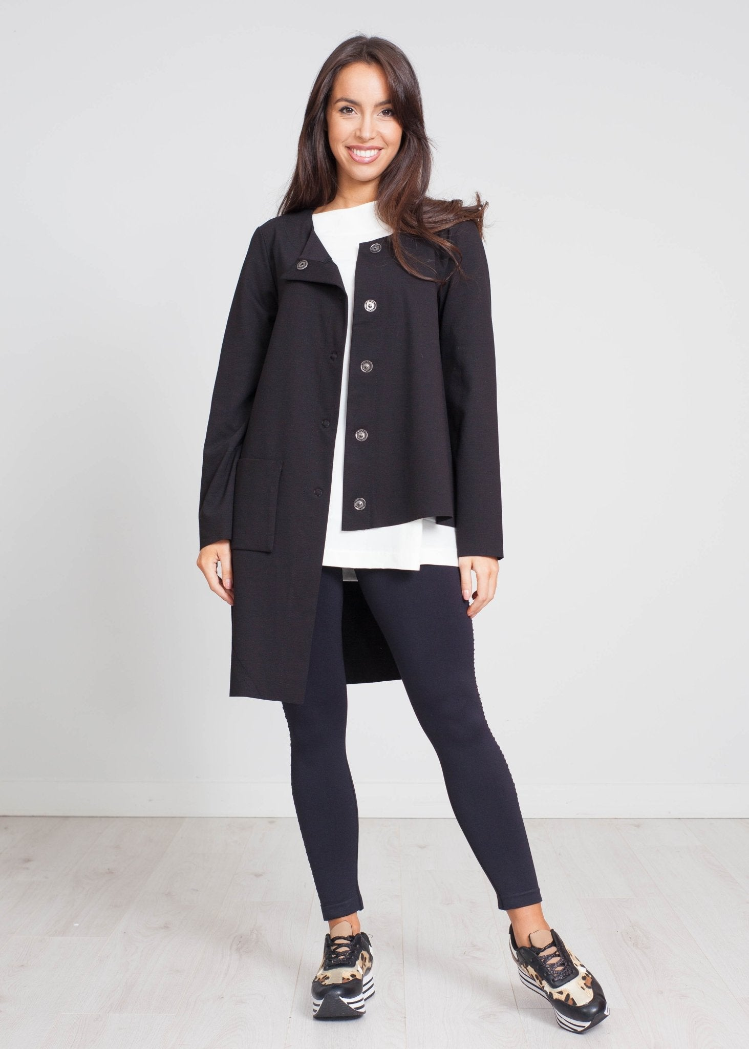 Cleo Asymmetric Jacket In Black - The Walk in Wardrobe