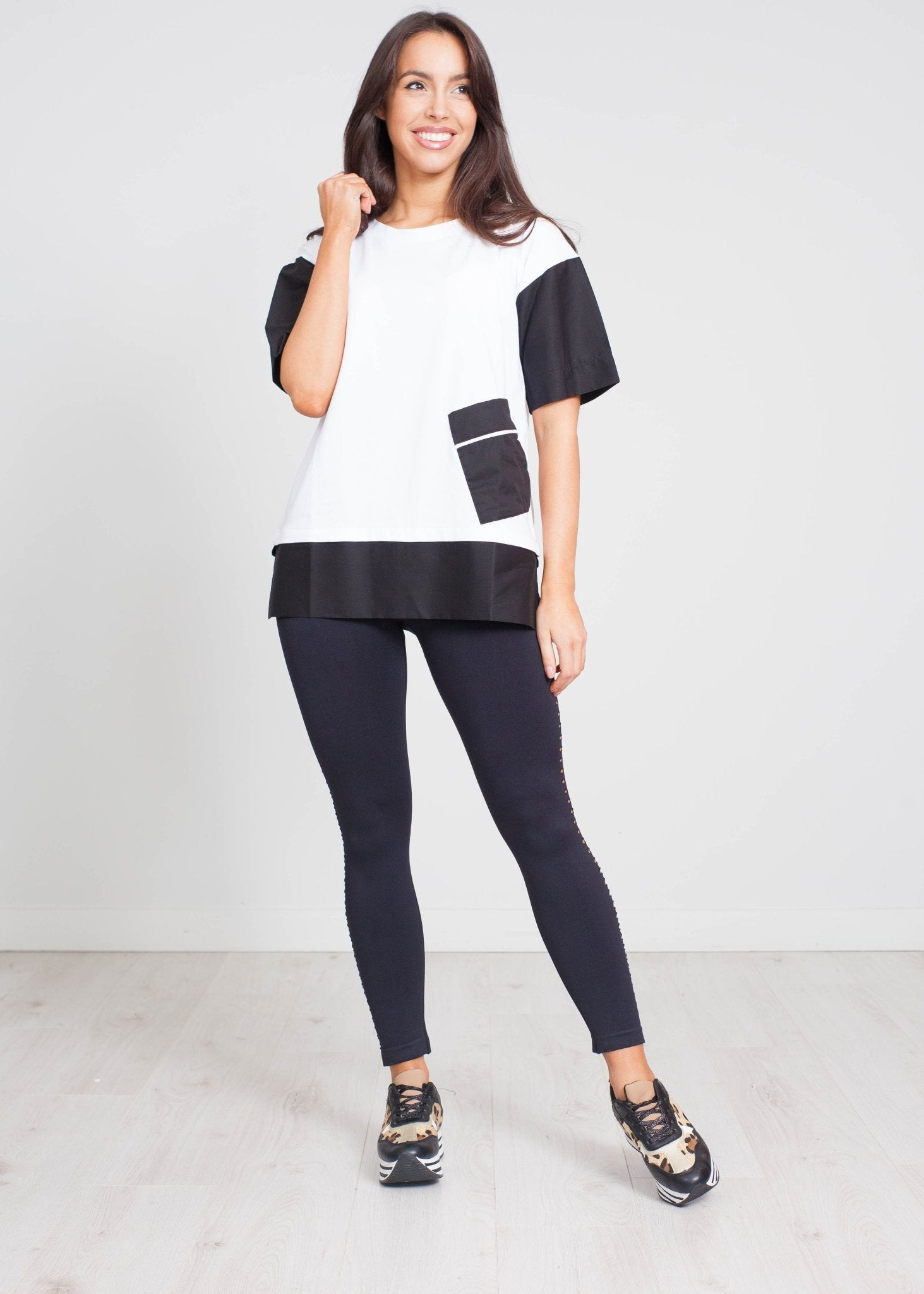 Cleo Contrast Pocket Top In White - The Walk in Wardrobe