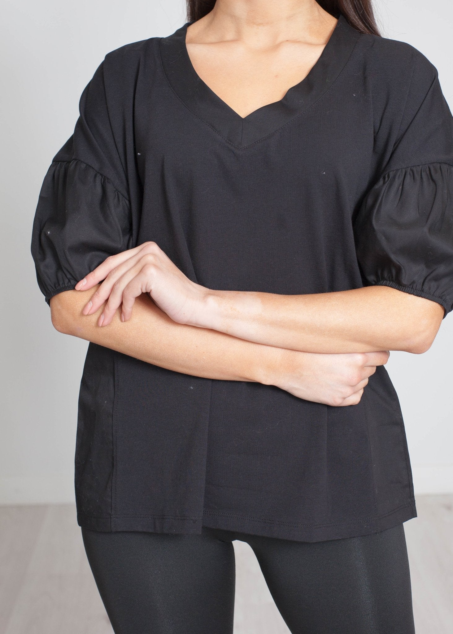 Cleo V-Neck T-Shirt In Black - The Walk in Wardrobe