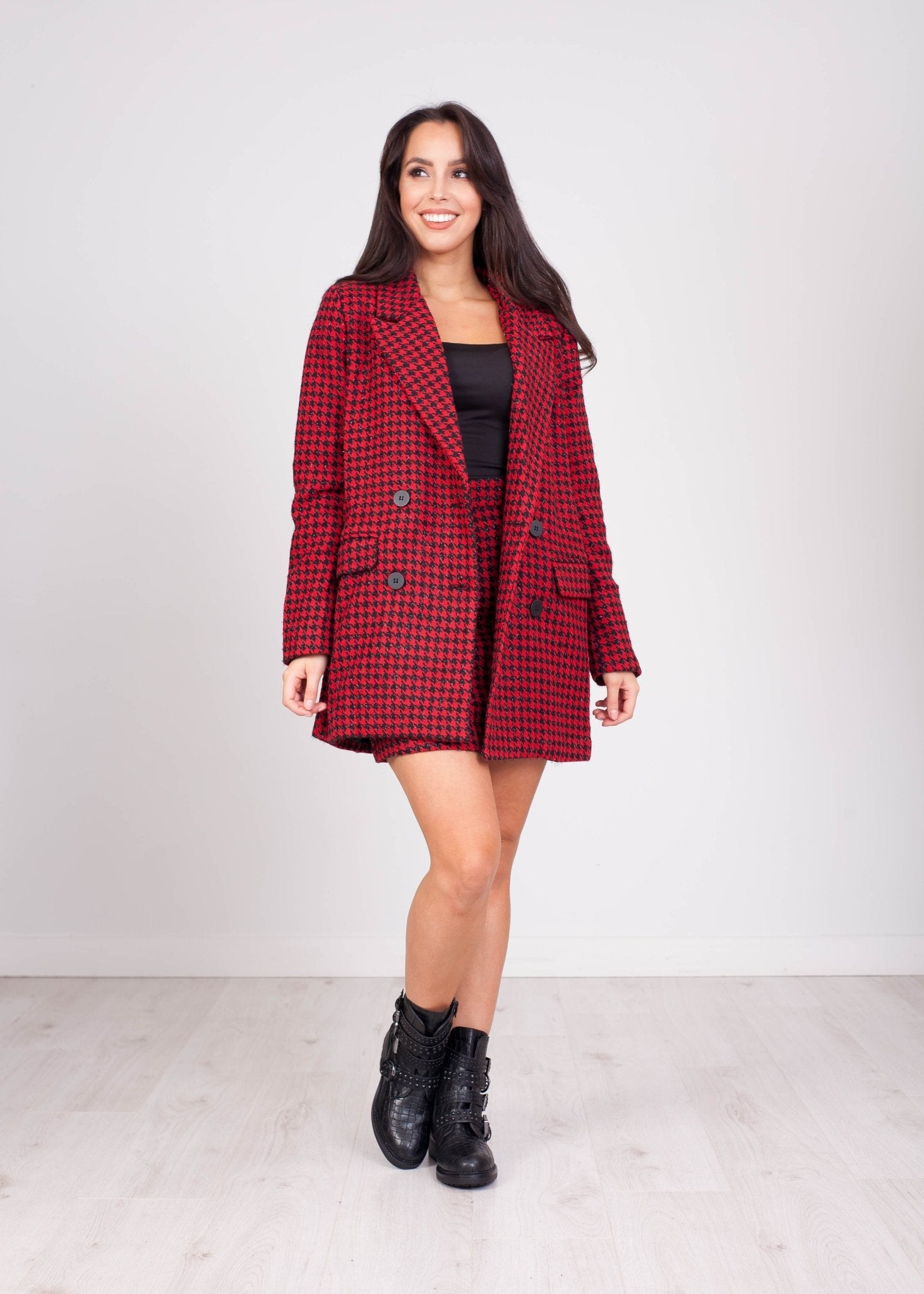 Daisy Check Blazer in Red - The Walk in Wardrobe