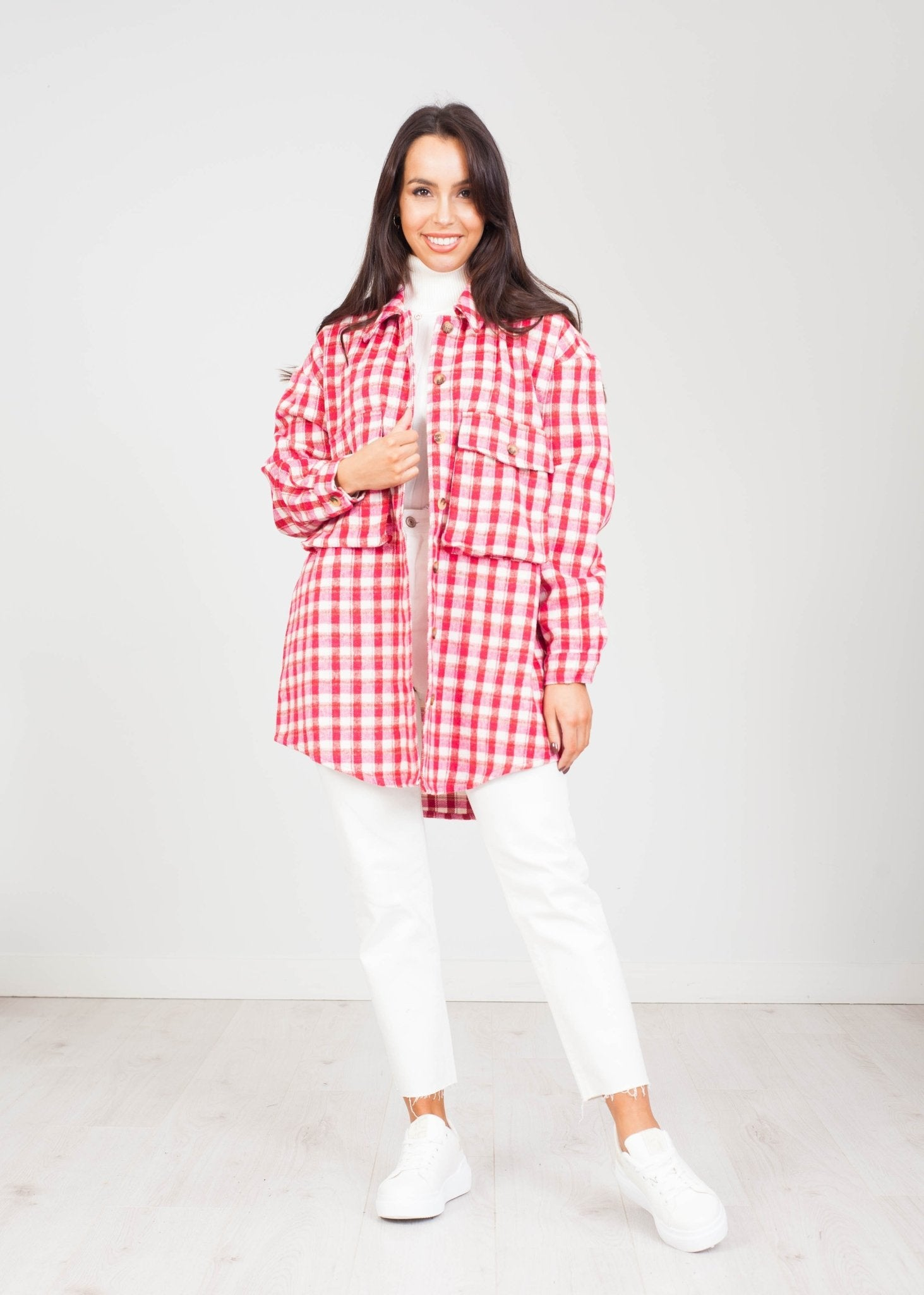 Daisy Check Shacket In Red & Pink - The Walk in Wardrobe