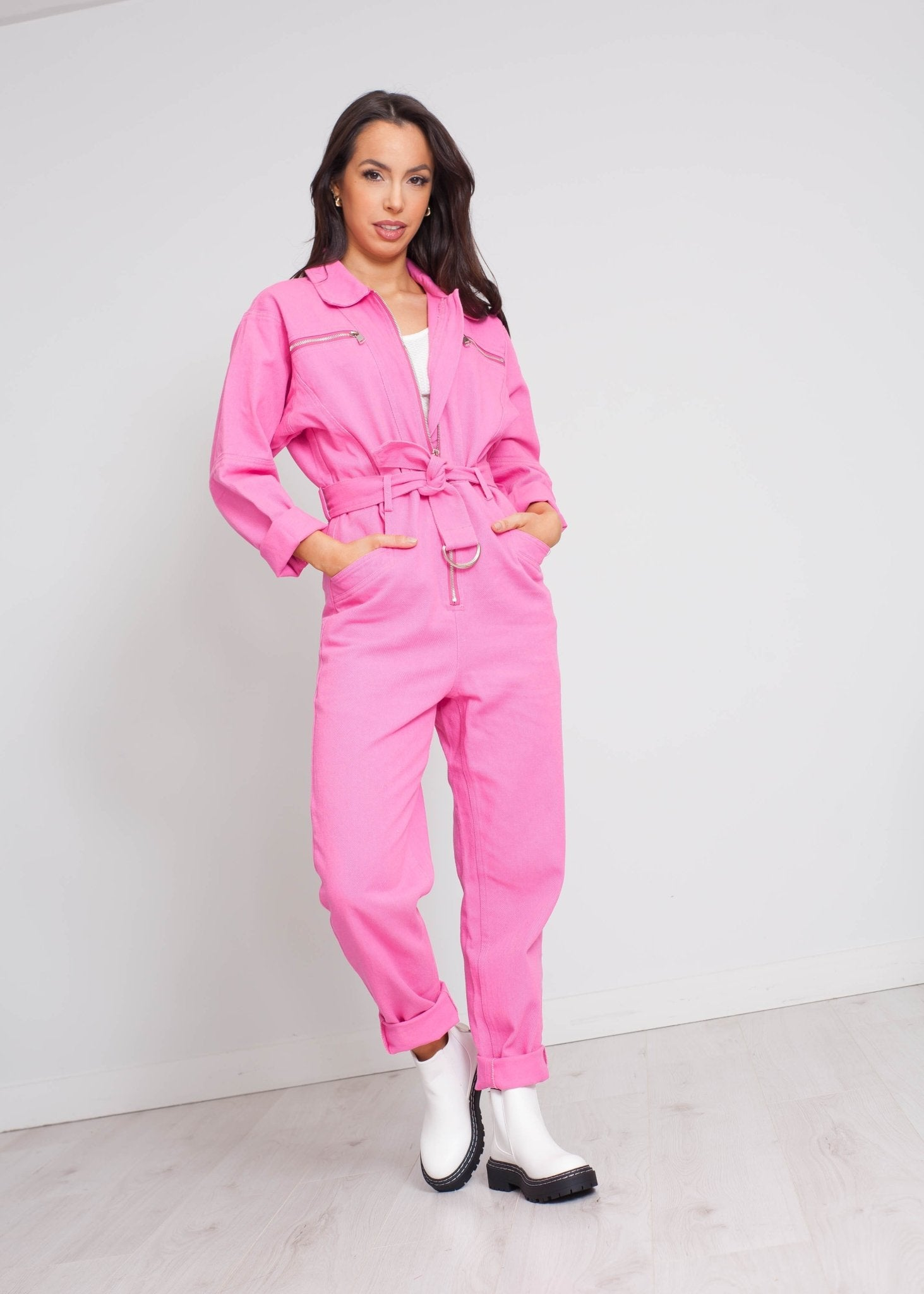 Daisy Denim Jumpsuit In Pink - The Walk in Wardrobe
