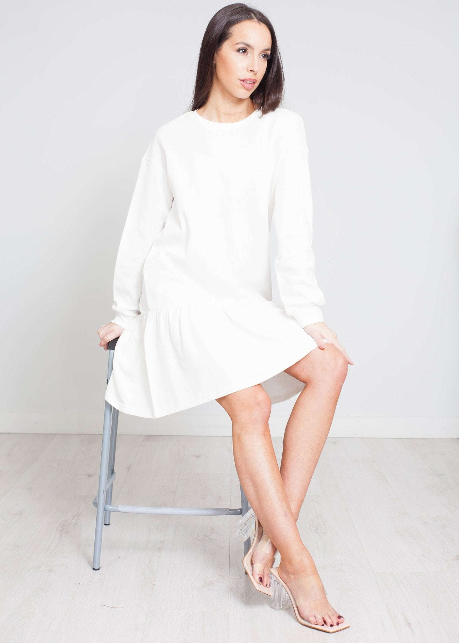 Daisy Peplum Dress In White - The Walk in Wardrobe