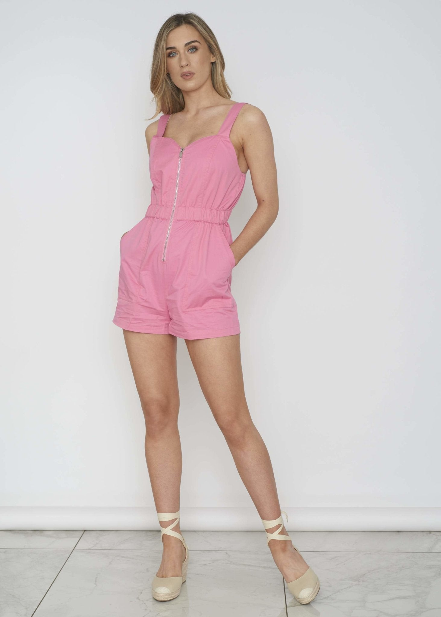 Daisy Playsuit In Pink - The Walk in Wardrobe