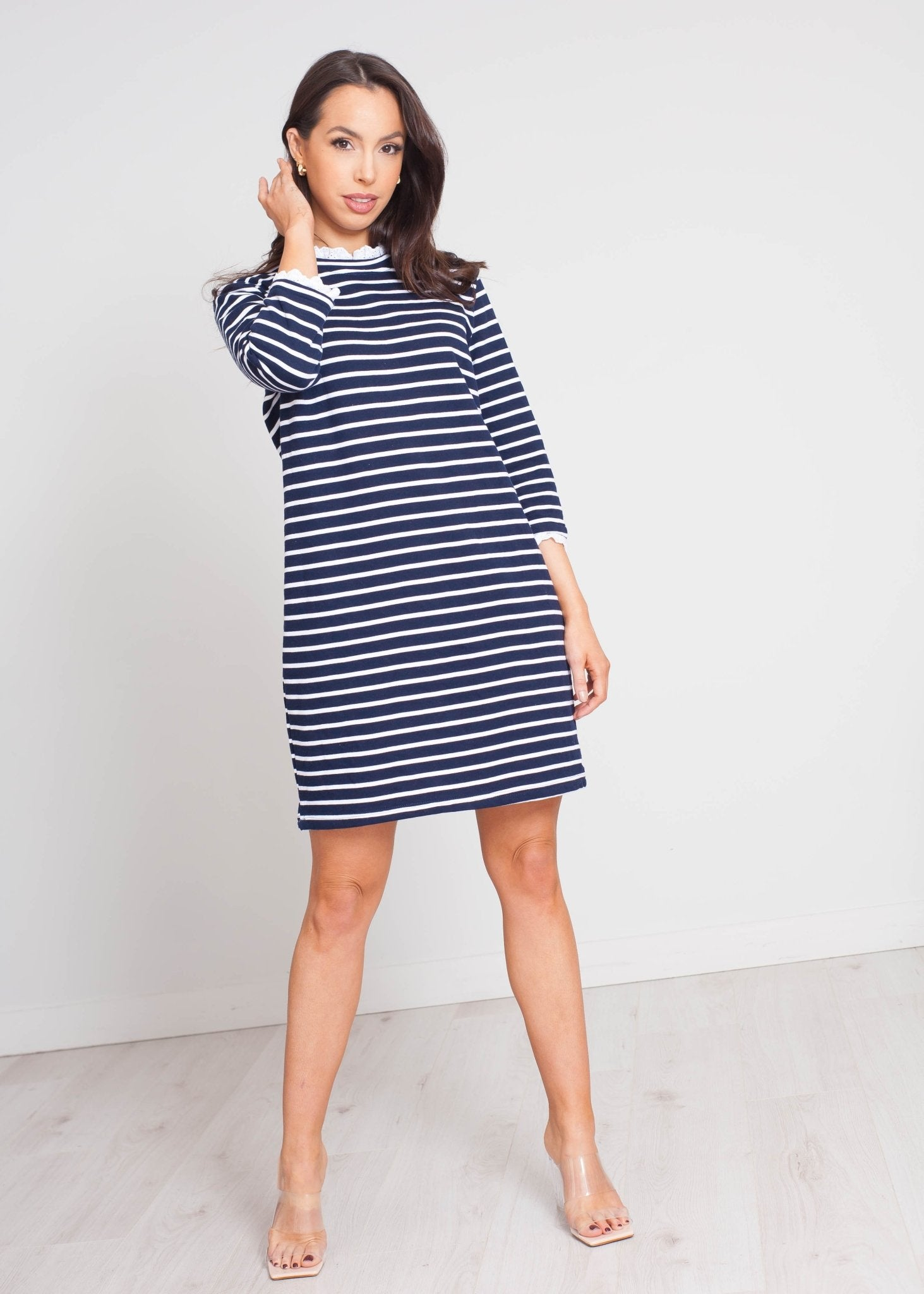 Daisy Stripe Jumper Dress In Navy - The Walk in Wardrobe