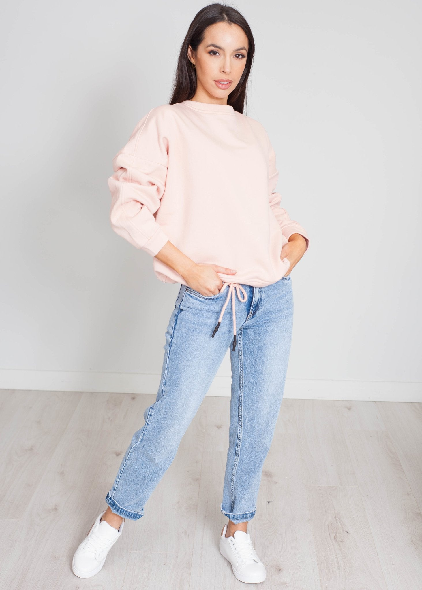 Danni Drawstring Sweatshirt In Blush - The Walk in Wardrobe