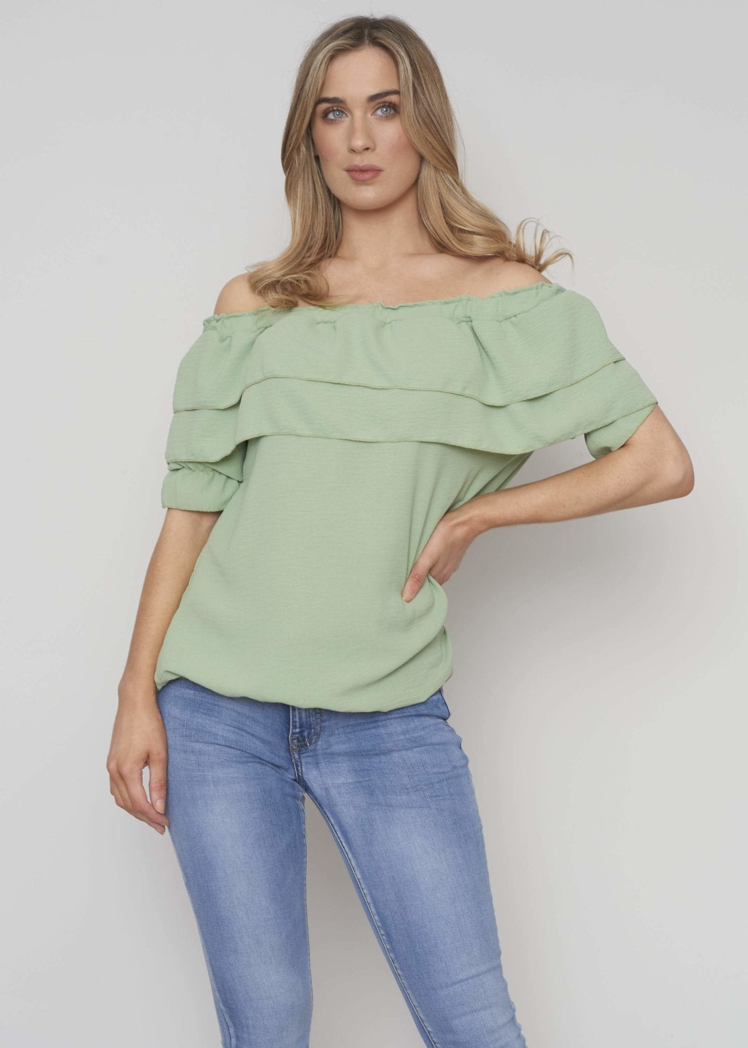 Danni Off Shoulder Ruffle Top In Sage - The Walk in Wardrobe