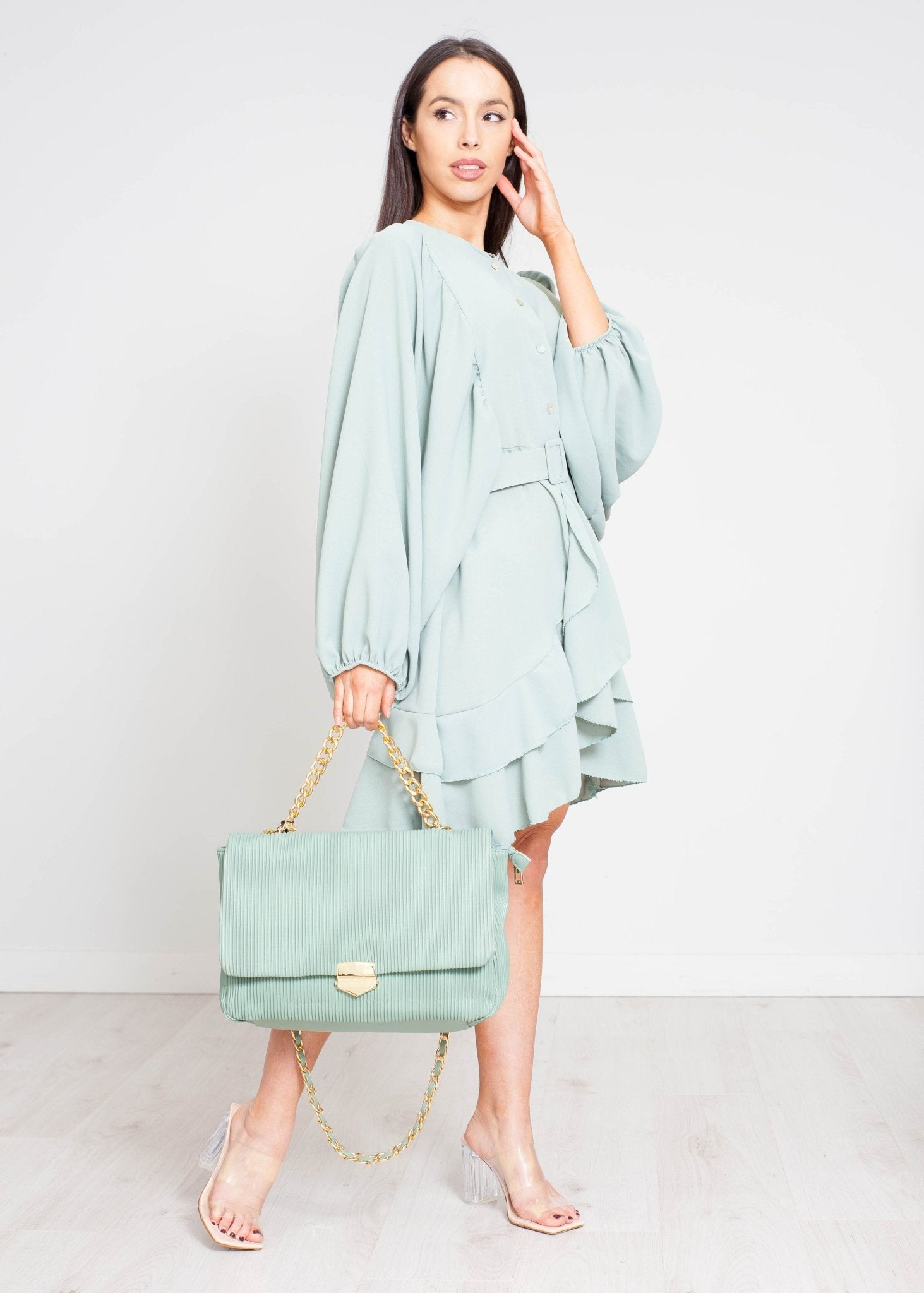 Danni Puff Sleeve Dress In Sage - The Walk in Wardrobe