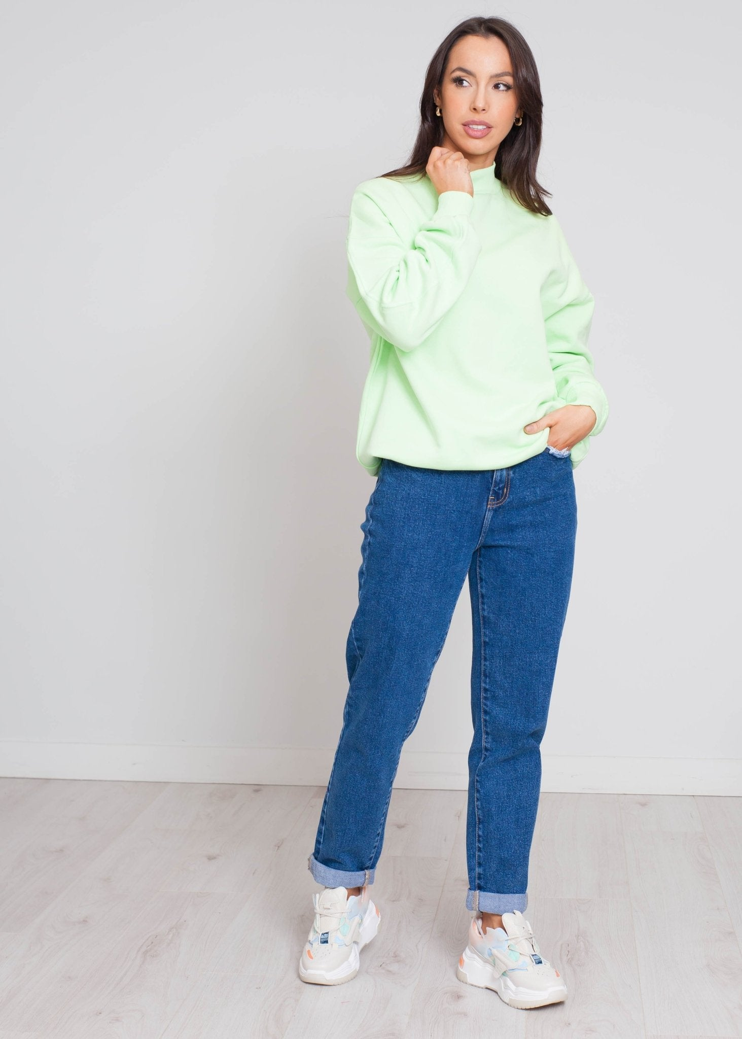 Danni Sweatshirt In Green - The Walk in Wardrobe