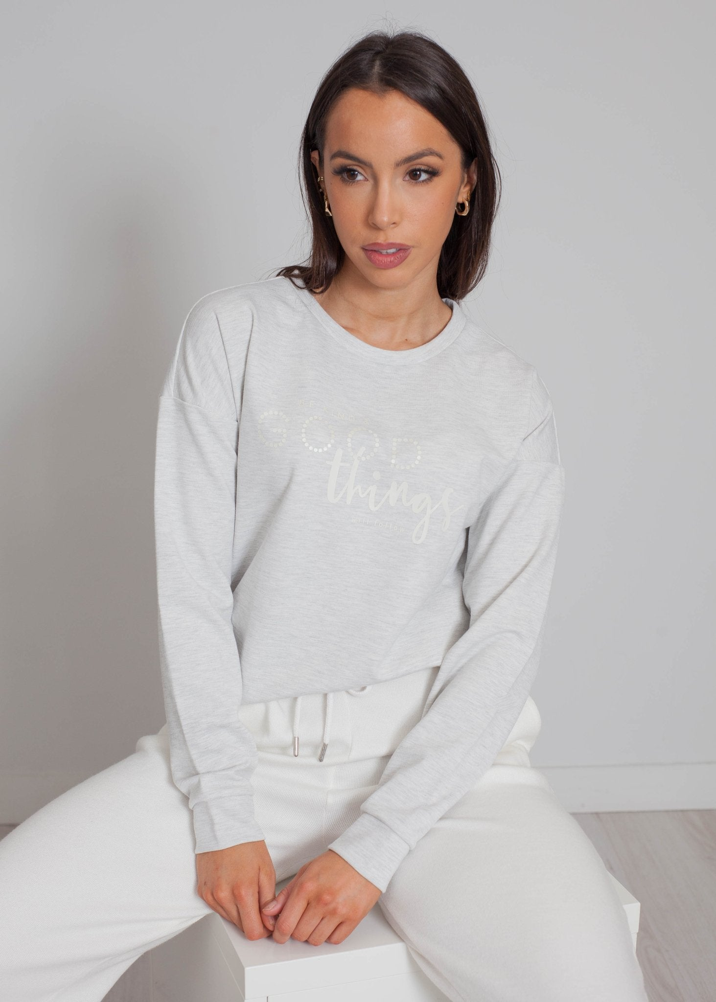 Darcey Drawstring Sweatshirt In Grey - The Walk in Wardrobe