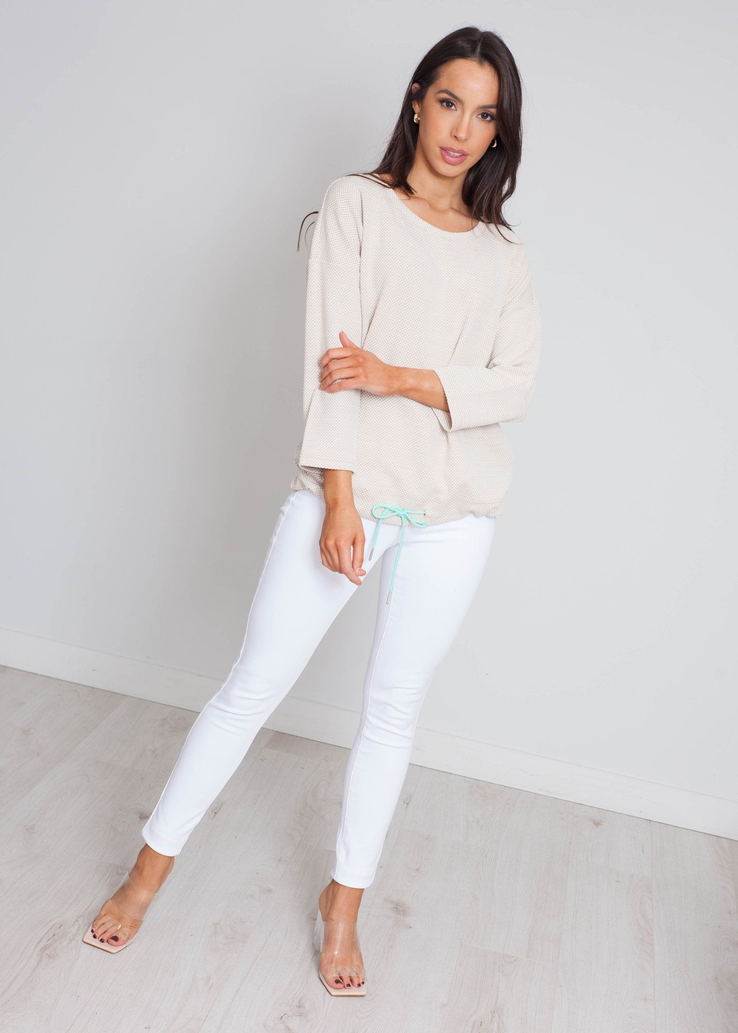 Darcey Drawstring Top In Beige Mix - The Walk in Wardrobe