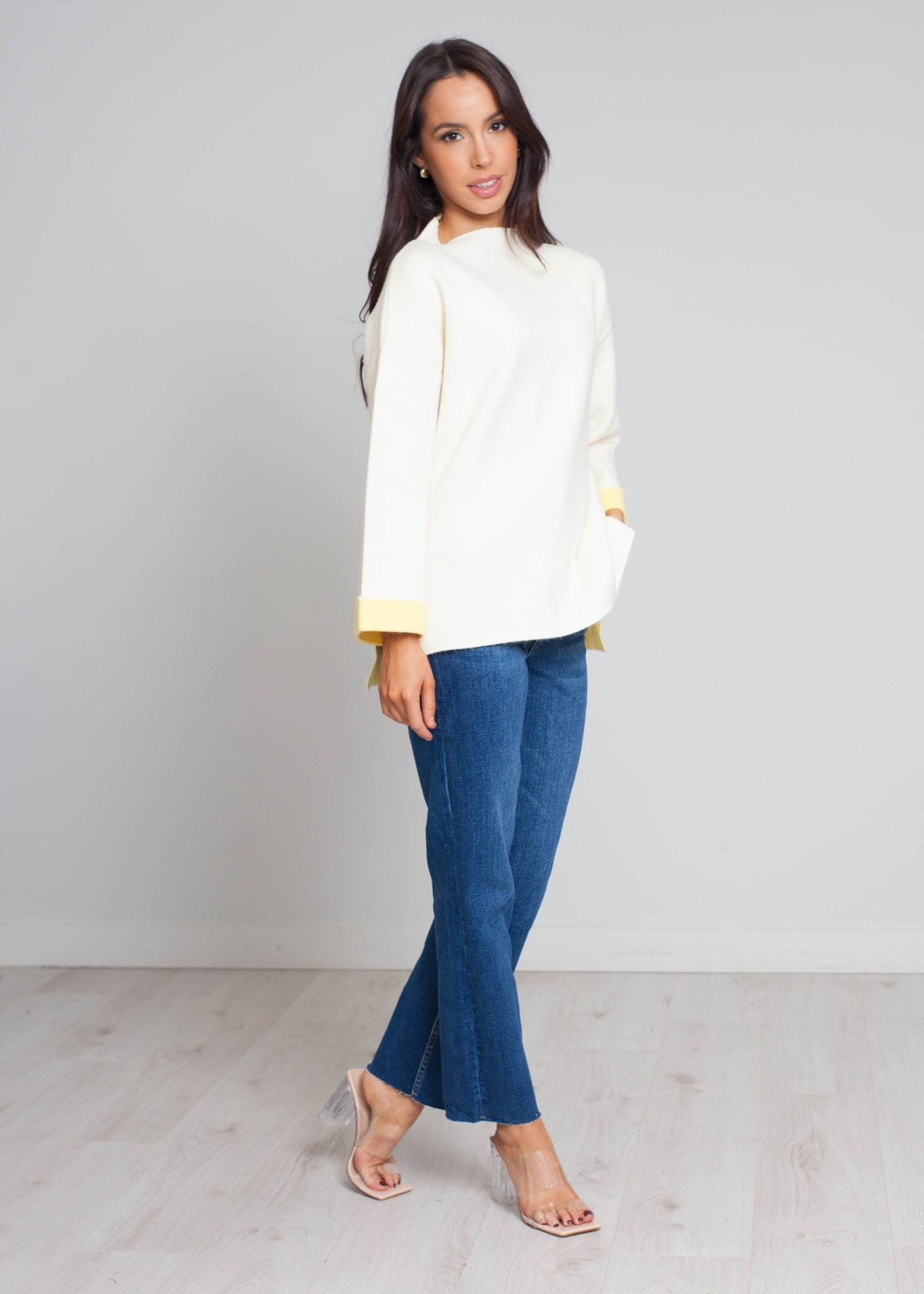 Darcey High Neck Jumper In Cream - The Walk in Wardrobe