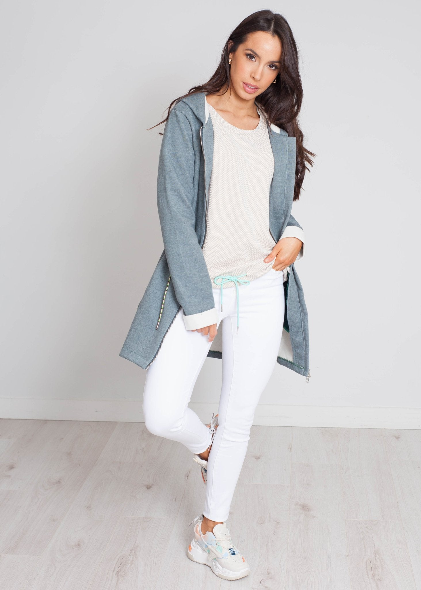 Darcey Longline Zip Hoodie In Sea Green - The Walk in Wardrobe