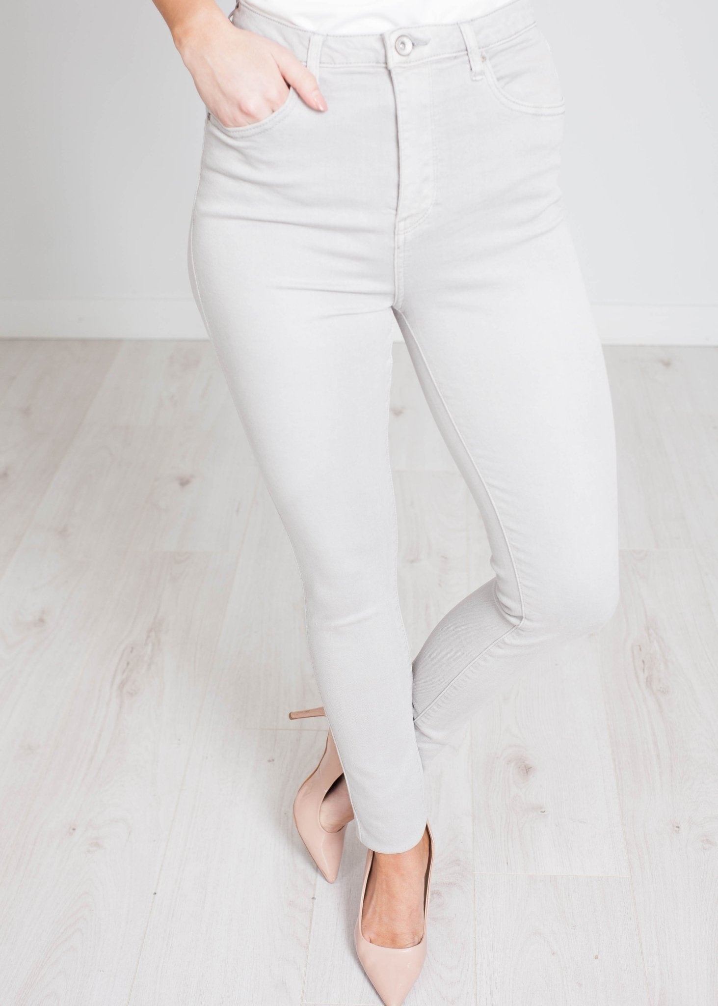 Eden High Waist Skinny Jean In Grey - The Walk in Wardrobe